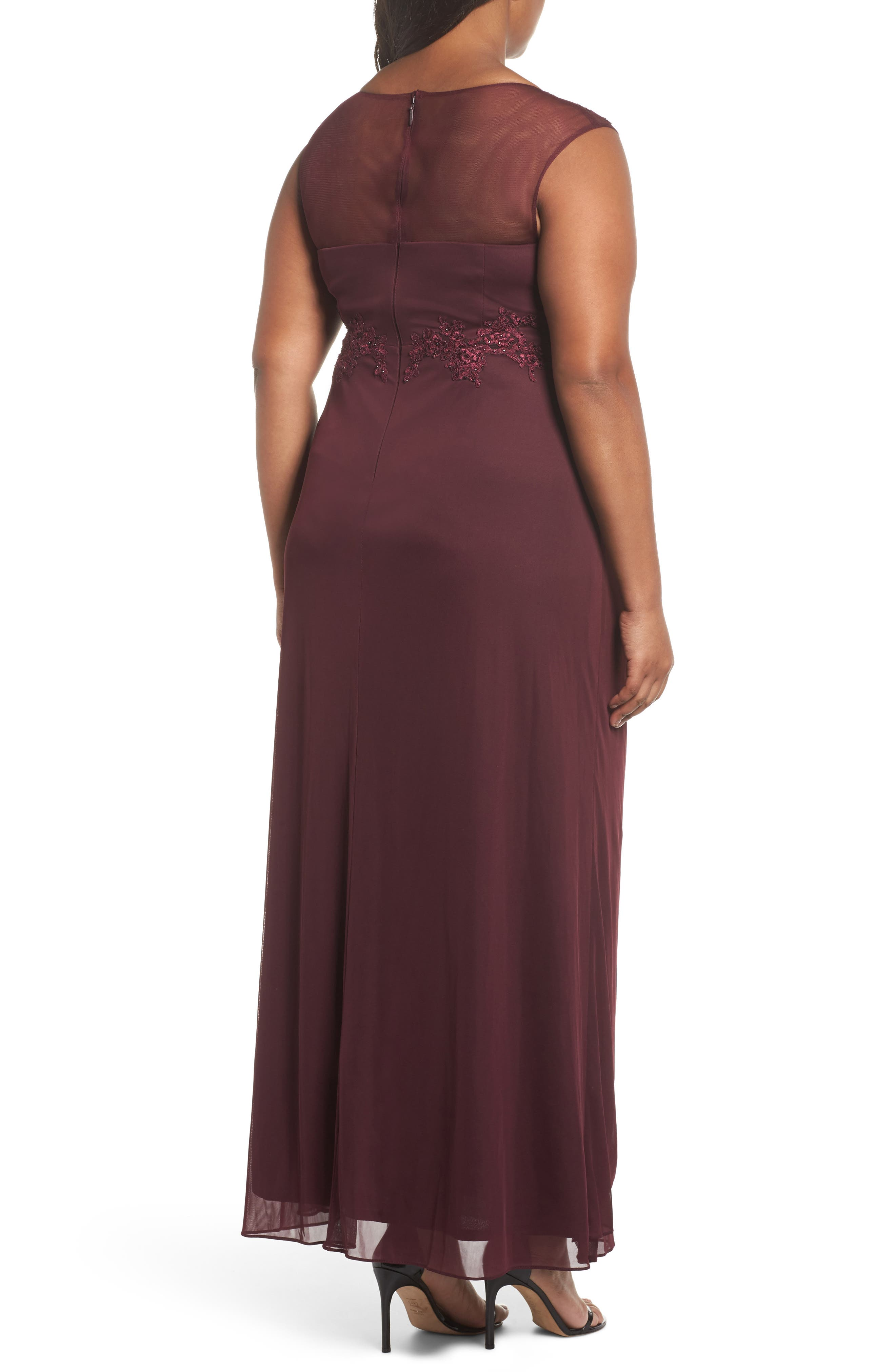 Embellished Ruched Jersey Gown,                             Alternate thumbnail 2, color,                             935