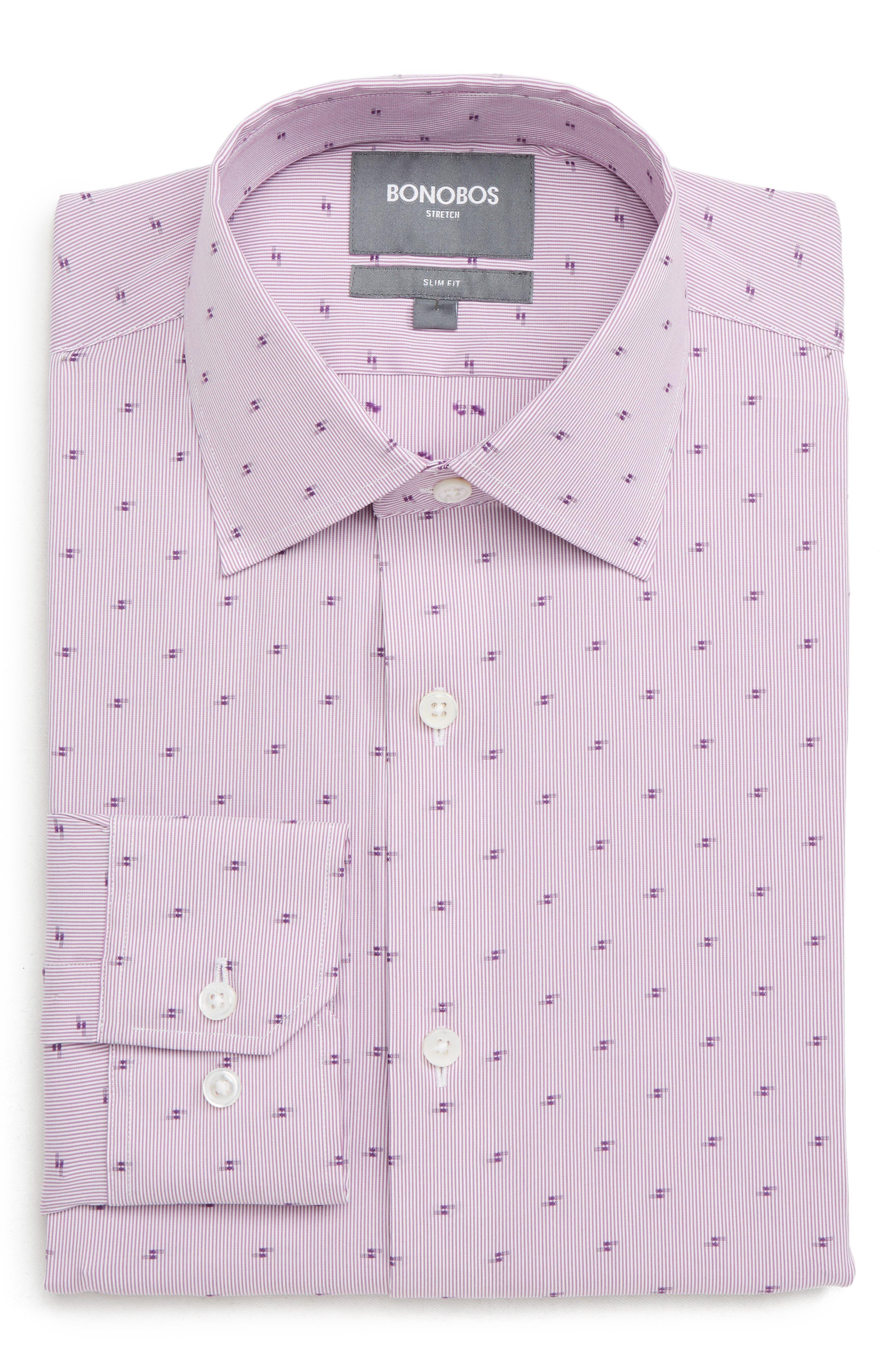 Elgine Filcoupe Slim Fit Stretch Stripe Dress Shirt,                             Main thumbnail 1, color,                             PINK