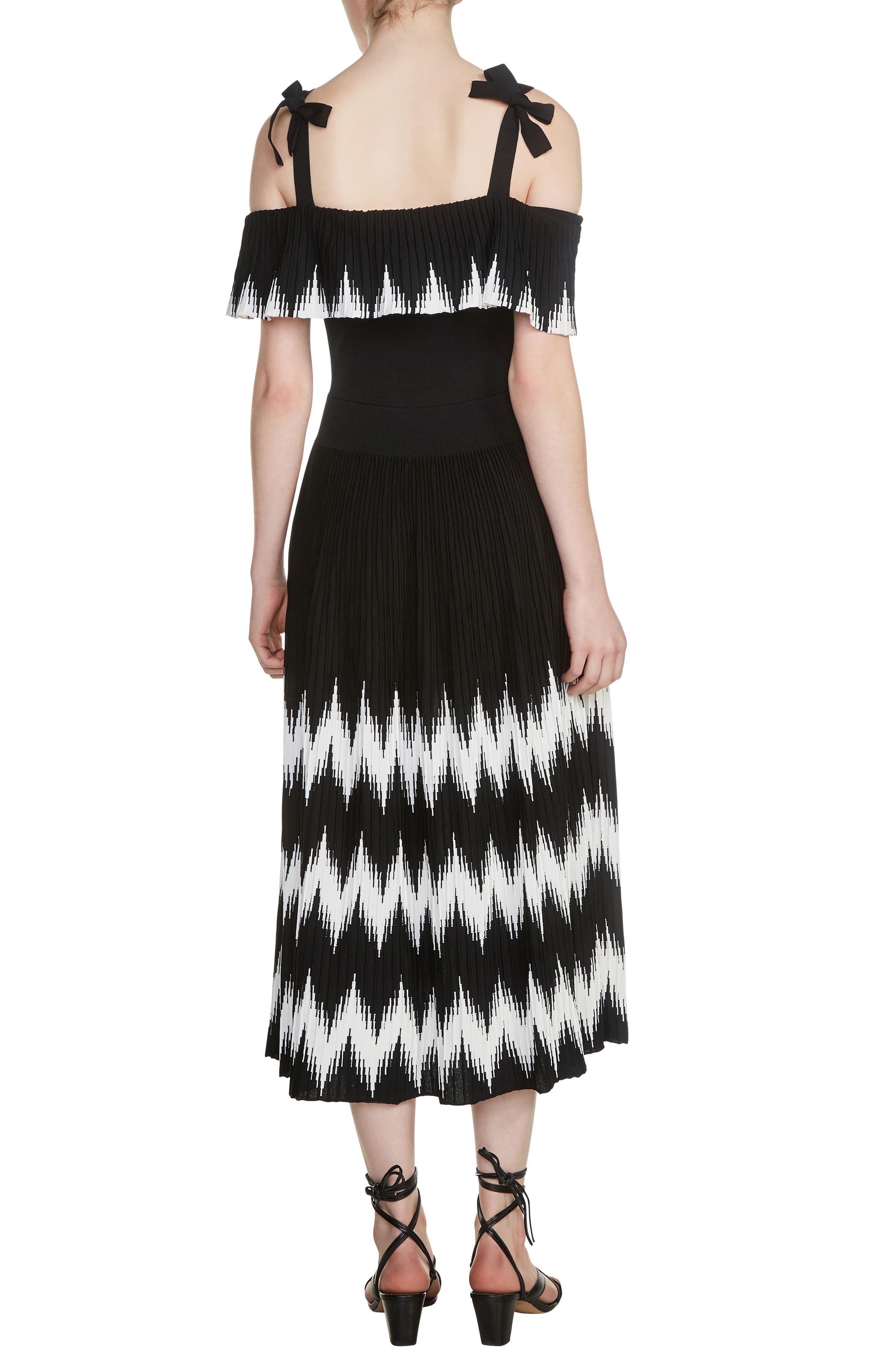 Rosier Cold Shoulder Midi Dress,                             Alternate thumbnail 2, color,                             001