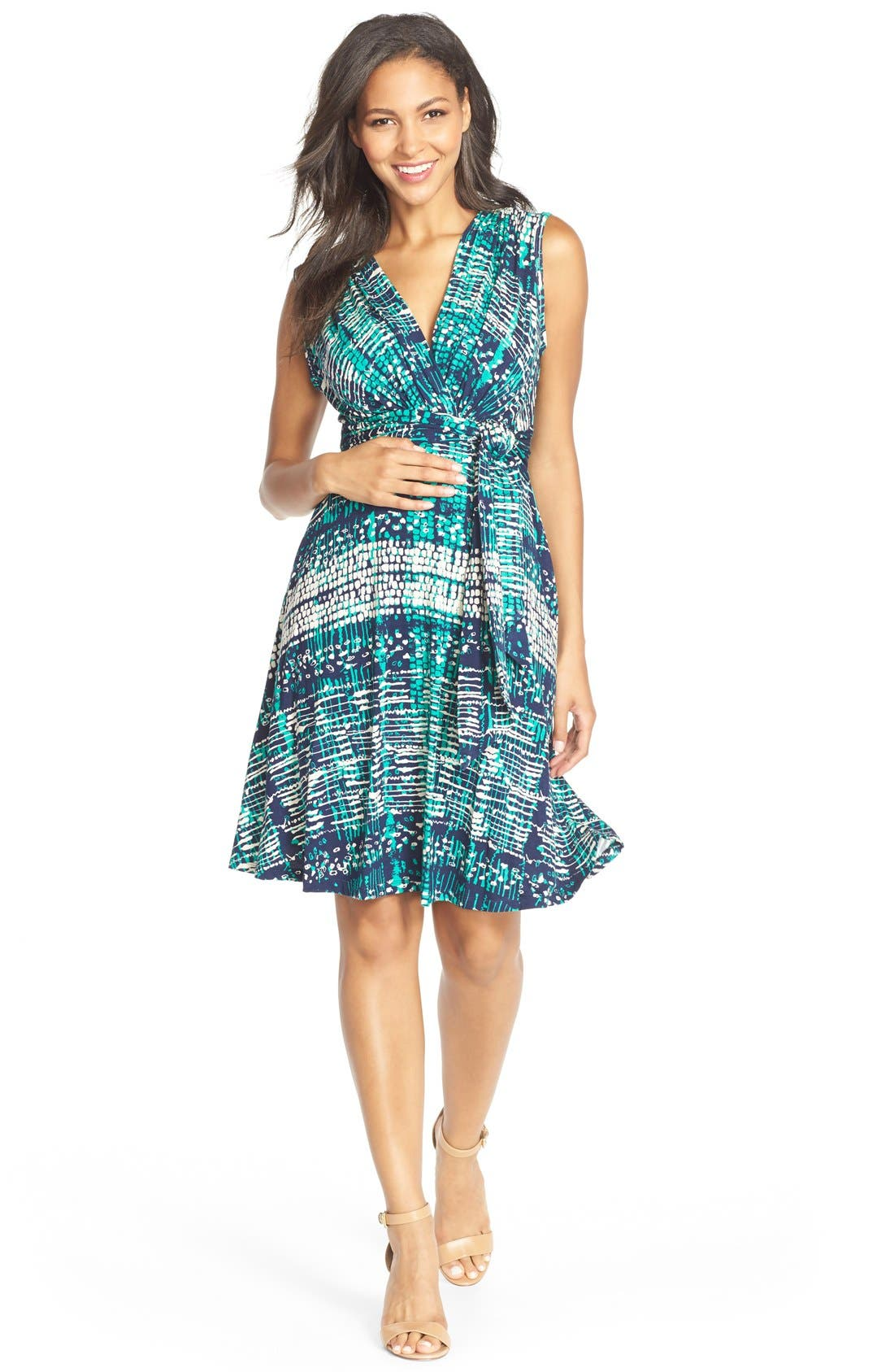 Tie Front Maternity Dress,                         Main,                         color, NAVY ATLANTIS