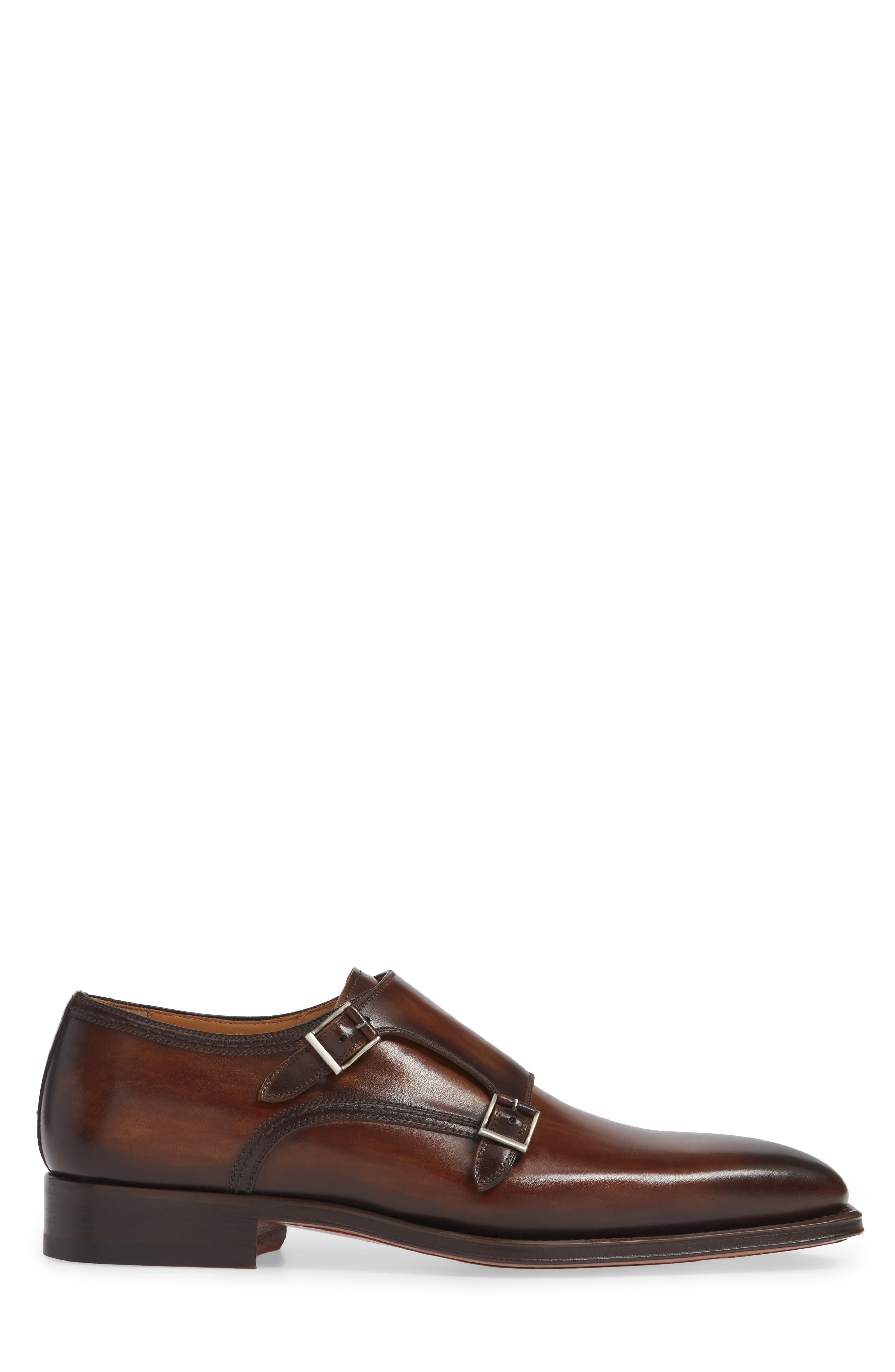 Landon Double Strap Monk Shoe,                             Alternate thumbnail 3, color,                             TOBACCO LEATHER