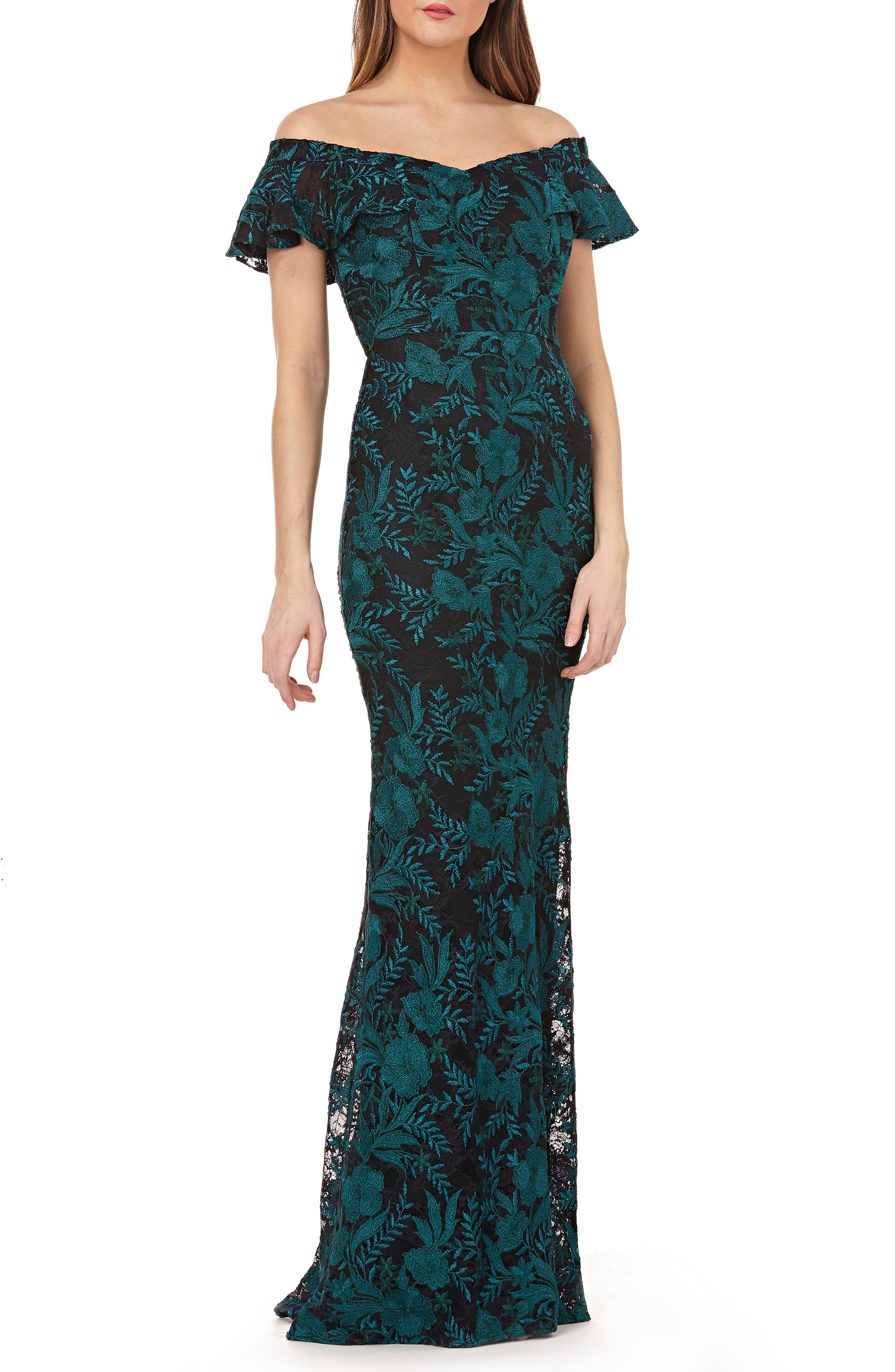 Carmen Marc Valvo Infusion Sweetheart Embroidered Off The Shoulder Gown
