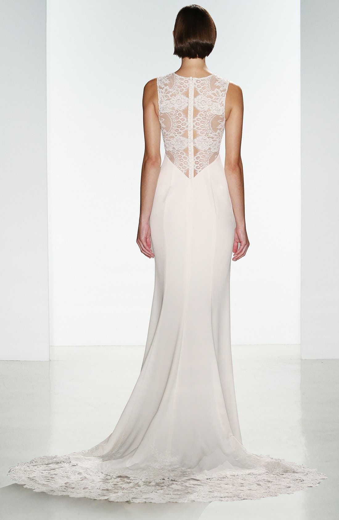 Myka Sleeveless Illusion Lace & Crepe Column Gown,                             Alternate thumbnail 2, color,                             IVORY