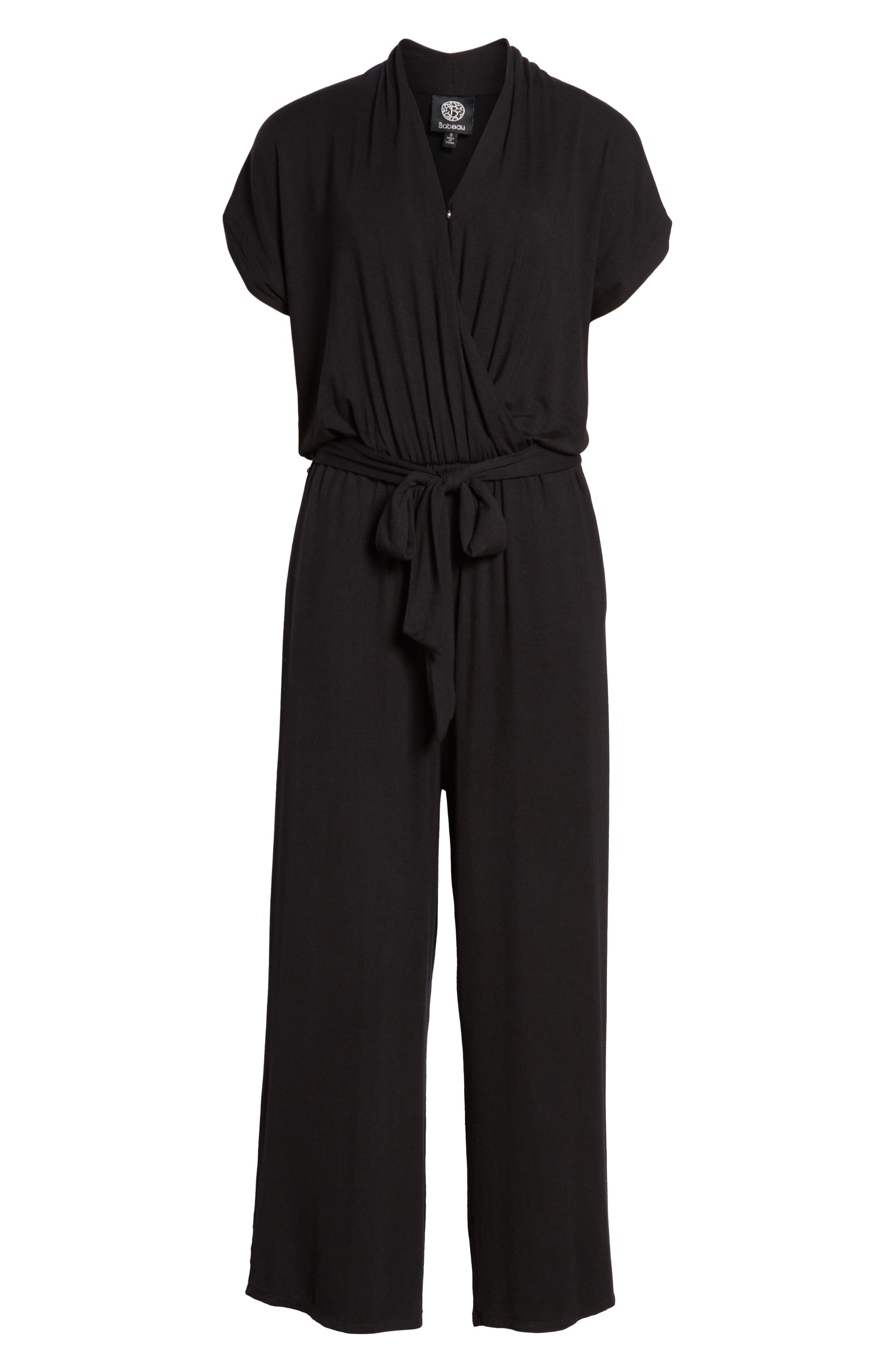 BOBEAU,                             Knit Surplus Jumpsuit,                             Alternate thumbnail 7, color,                             001