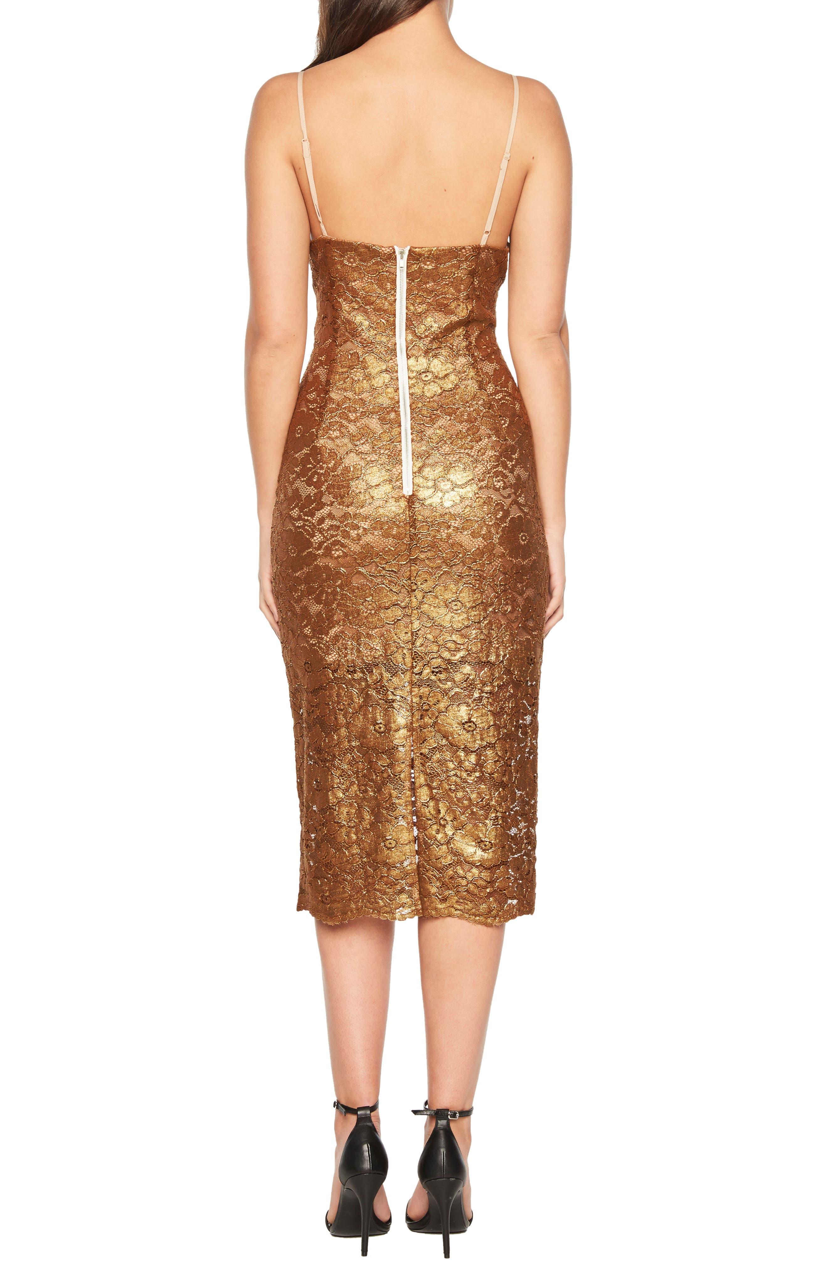 Metallic Lace Midi Sheath Dress,                             Alternate thumbnail 2, color,                             SOFT GOLD
