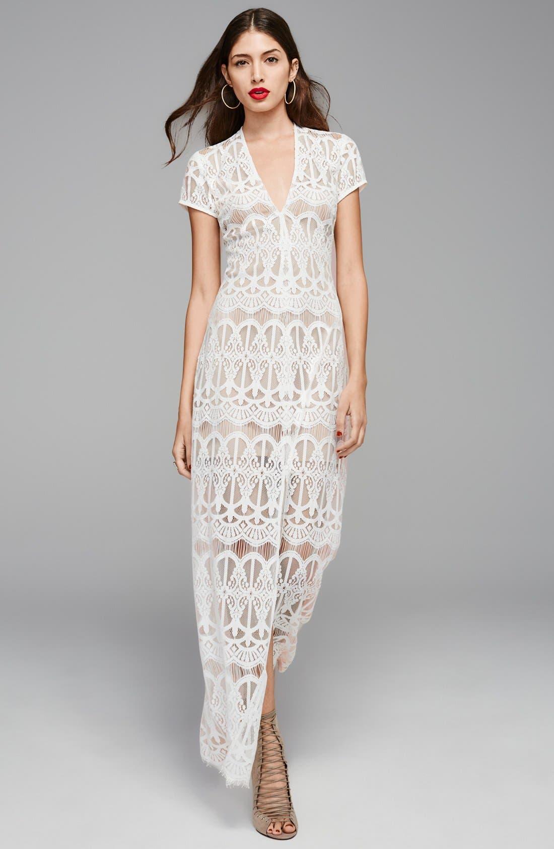 V-Neck Lace Maxi Dress,                             Alternate thumbnail 7, color,                             001