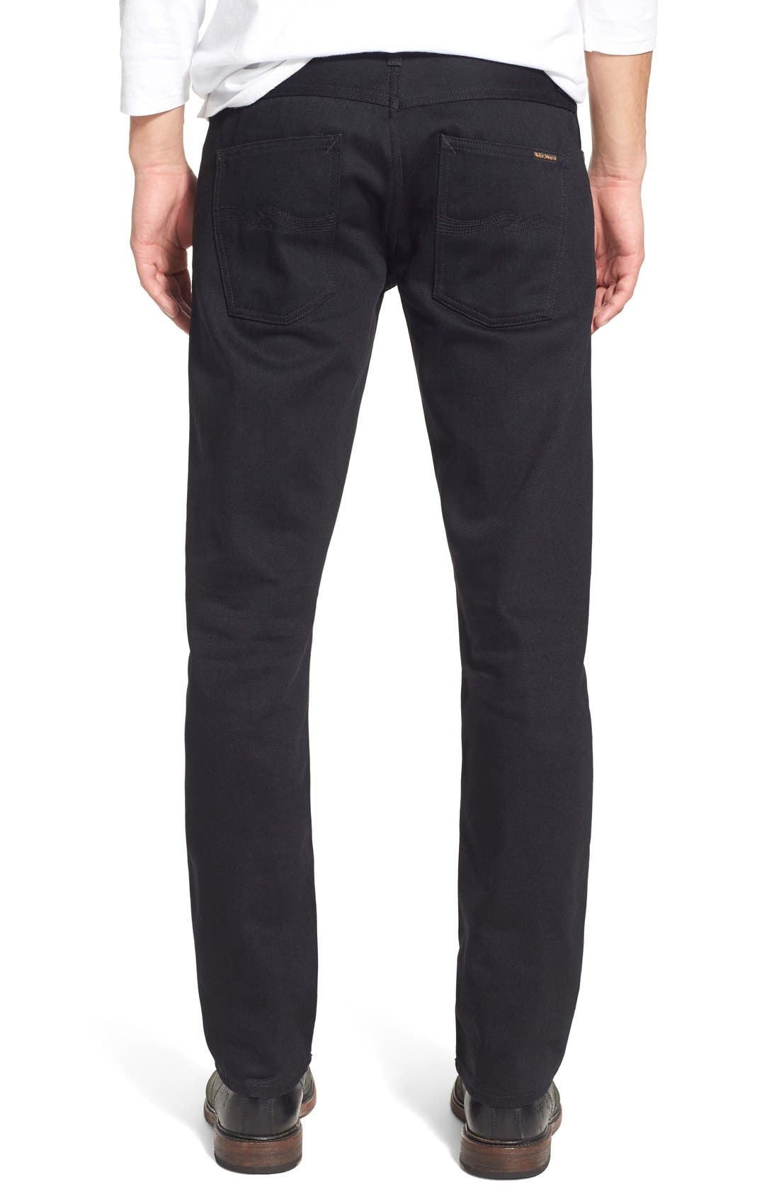 NUDIE JEANS,                             'Grim Tim' Slim Fit Raw Selvedge Jeans,                             Alternate thumbnail 5, color,                             001