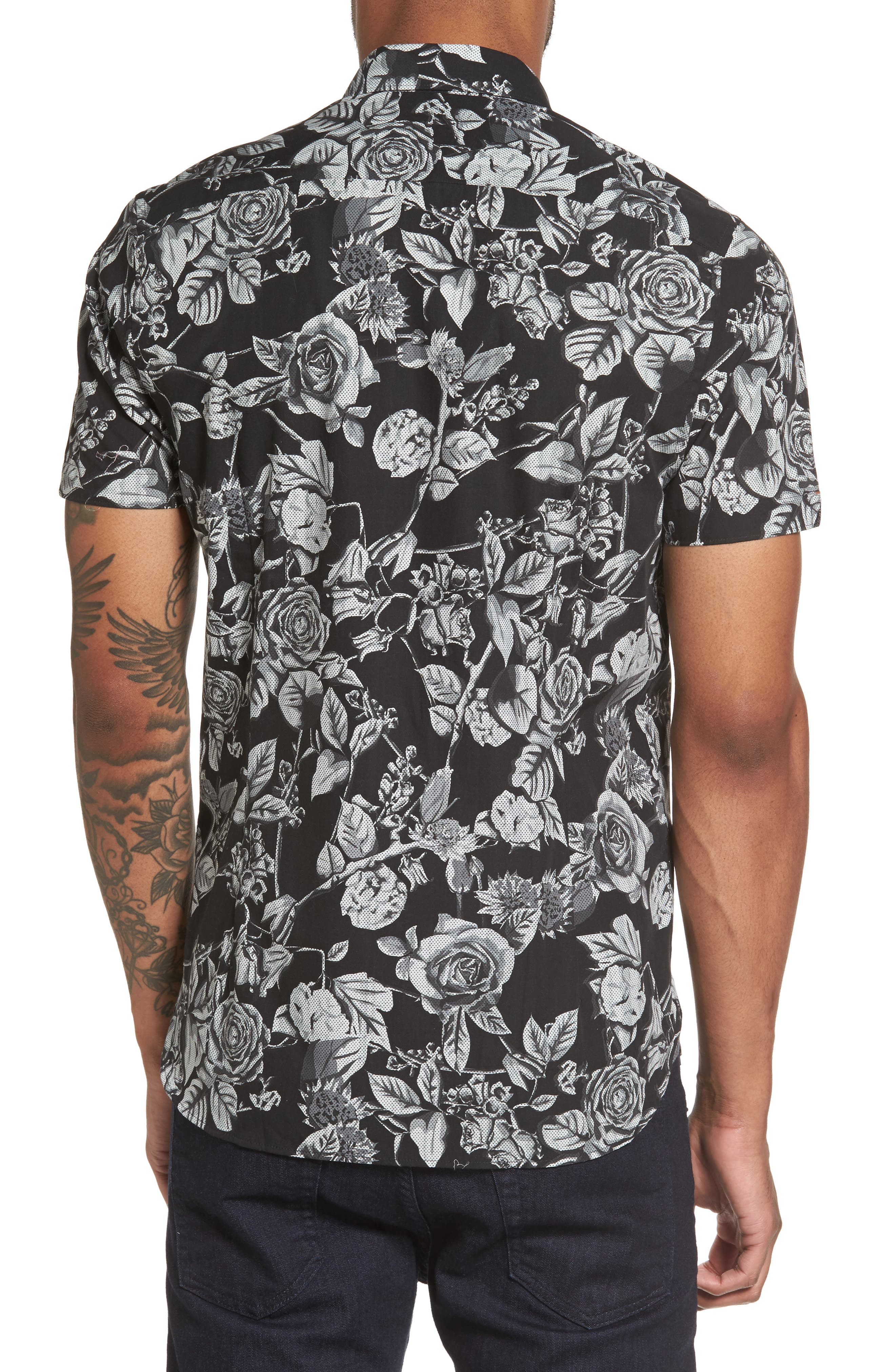Taxee Floral Print Woven Shirt,                             Alternate thumbnail 2, color,                             001