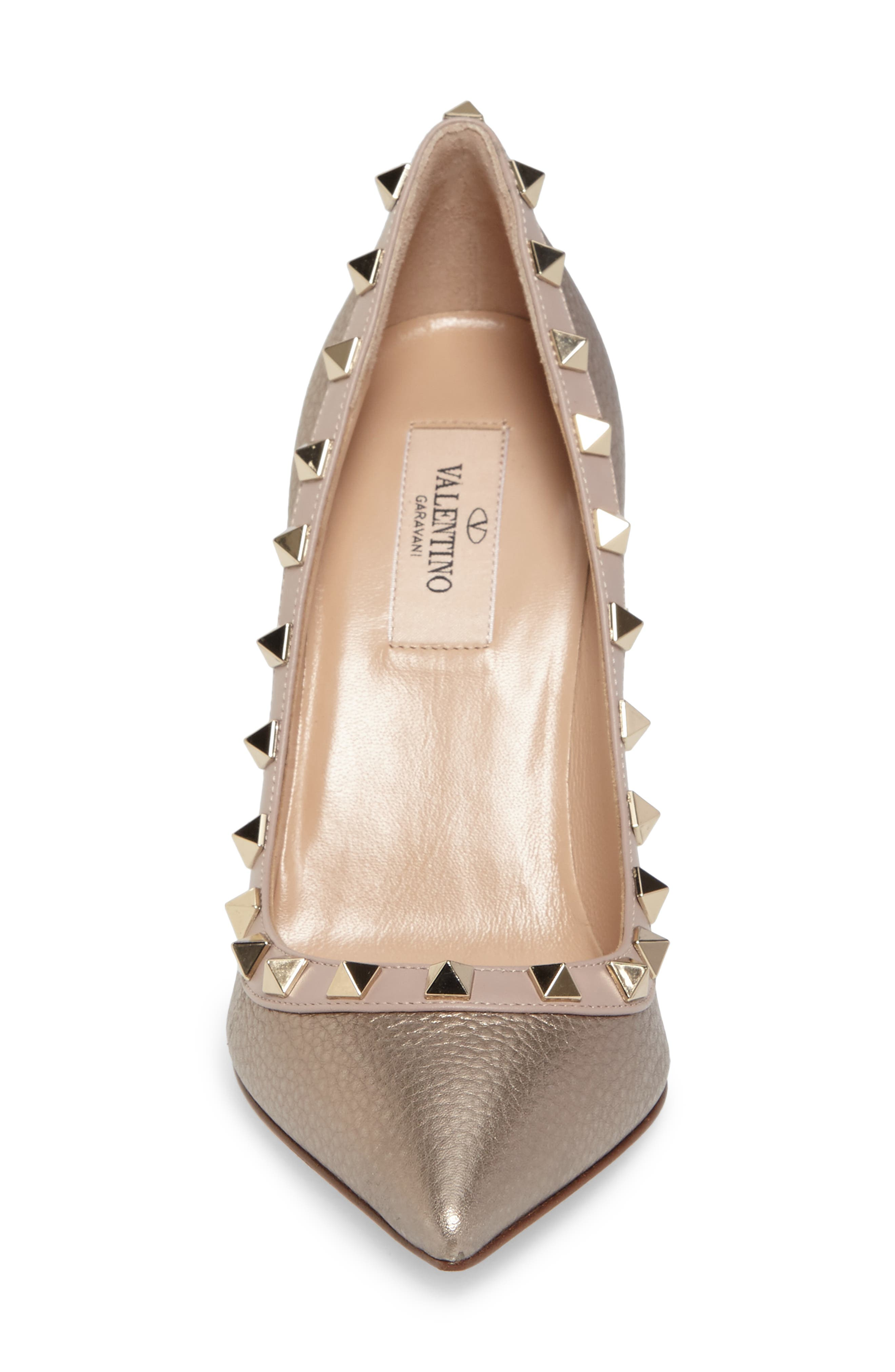 Rockstud Pointy Toe Pump,                             Alternate thumbnail 4, color,                             710