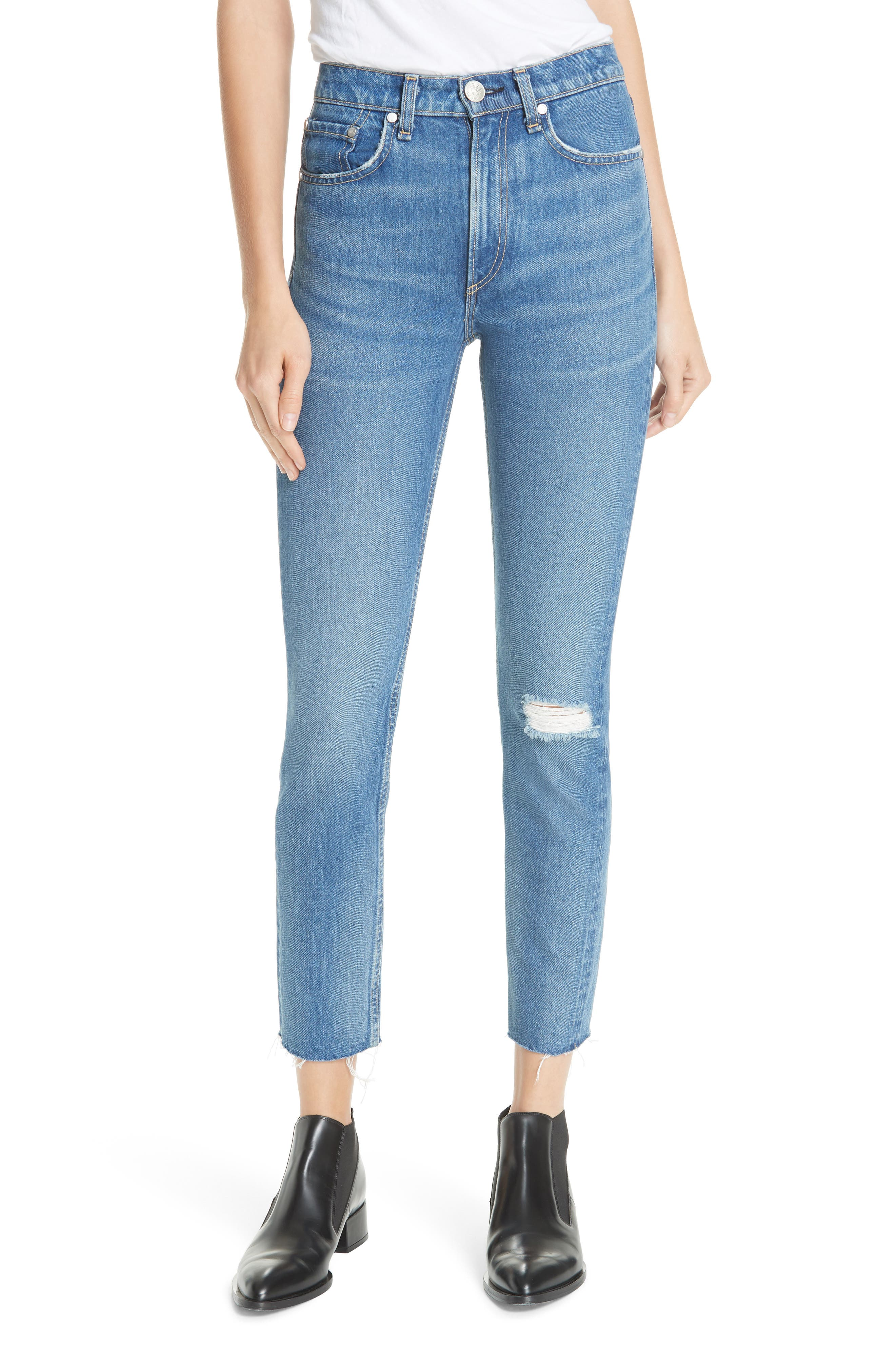 High Waist Ankle Skinny Jeans, Main, color, 420