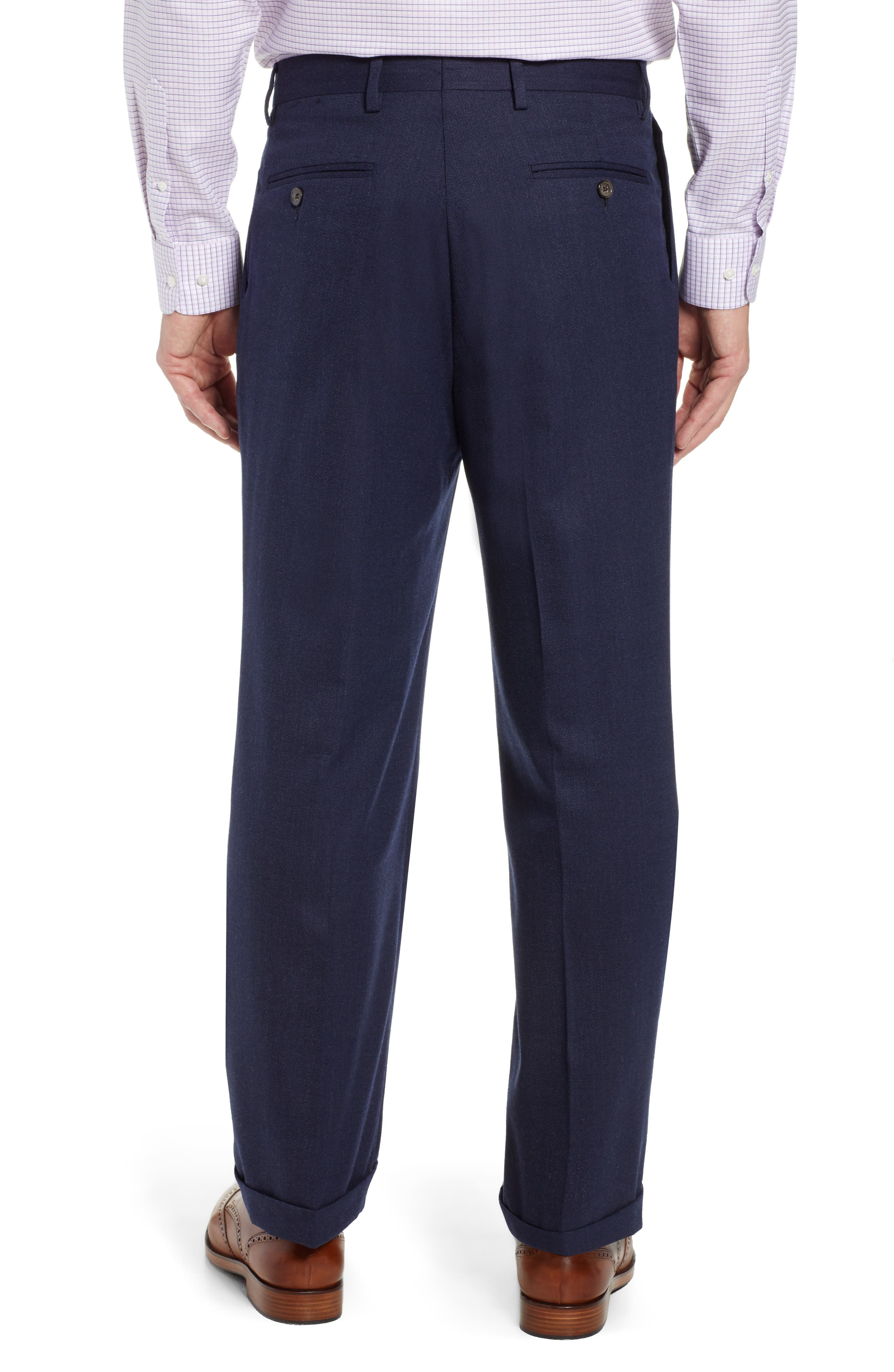 Manufacturing Pleated Stretch Solid Wool & Cotton Trousers,                             Alternate thumbnail 2, color,                             BLUE