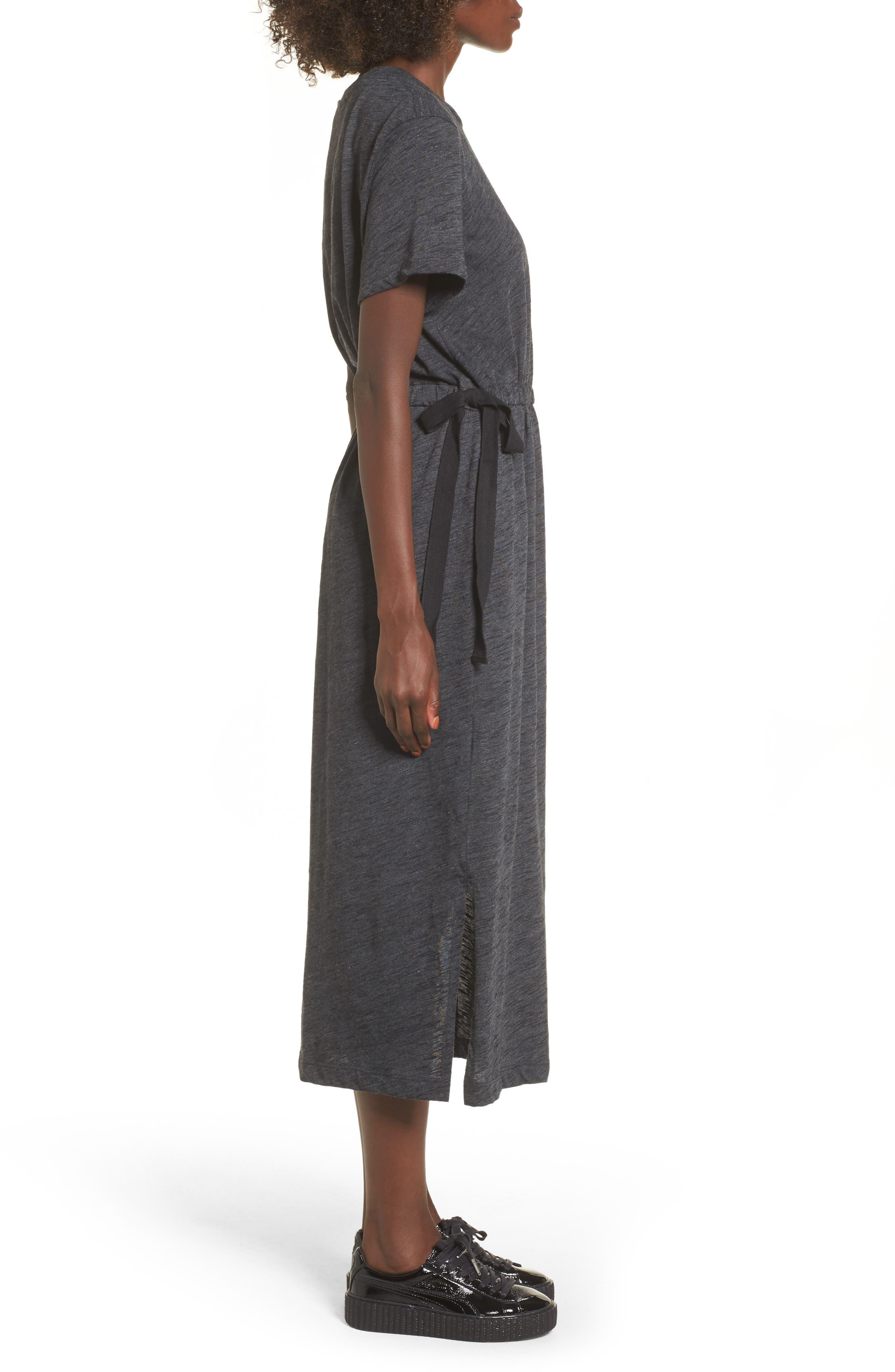 Side Tie Midi T-Shirt Dress,                             Alternate thumbnail 3, color,                             020