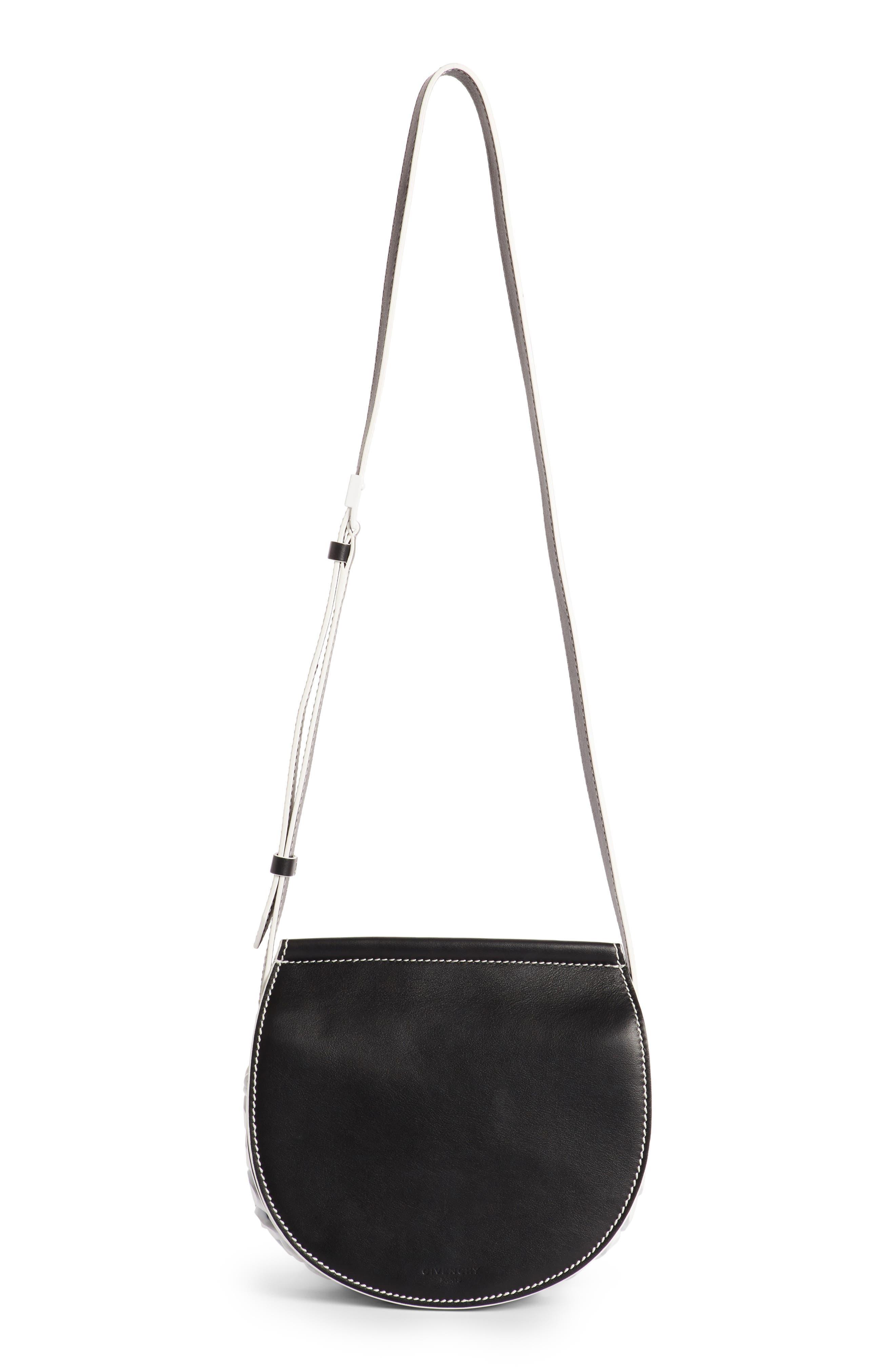 Mini Infinity Calfskin Saddle Bag,                             Main thumbnail 1, color,                             004