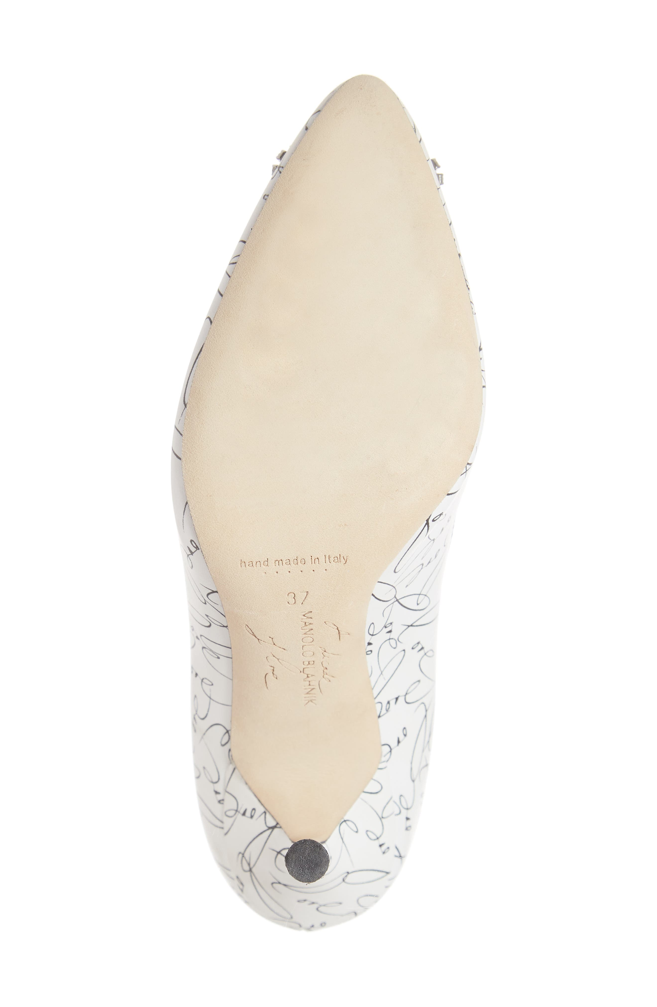 MANOLO BLAHNIK,                             Decade of Love Hangisi Anniversary Embellished Pump,                             Alternate thumbnail 6, color,                             WHITE LEATHER