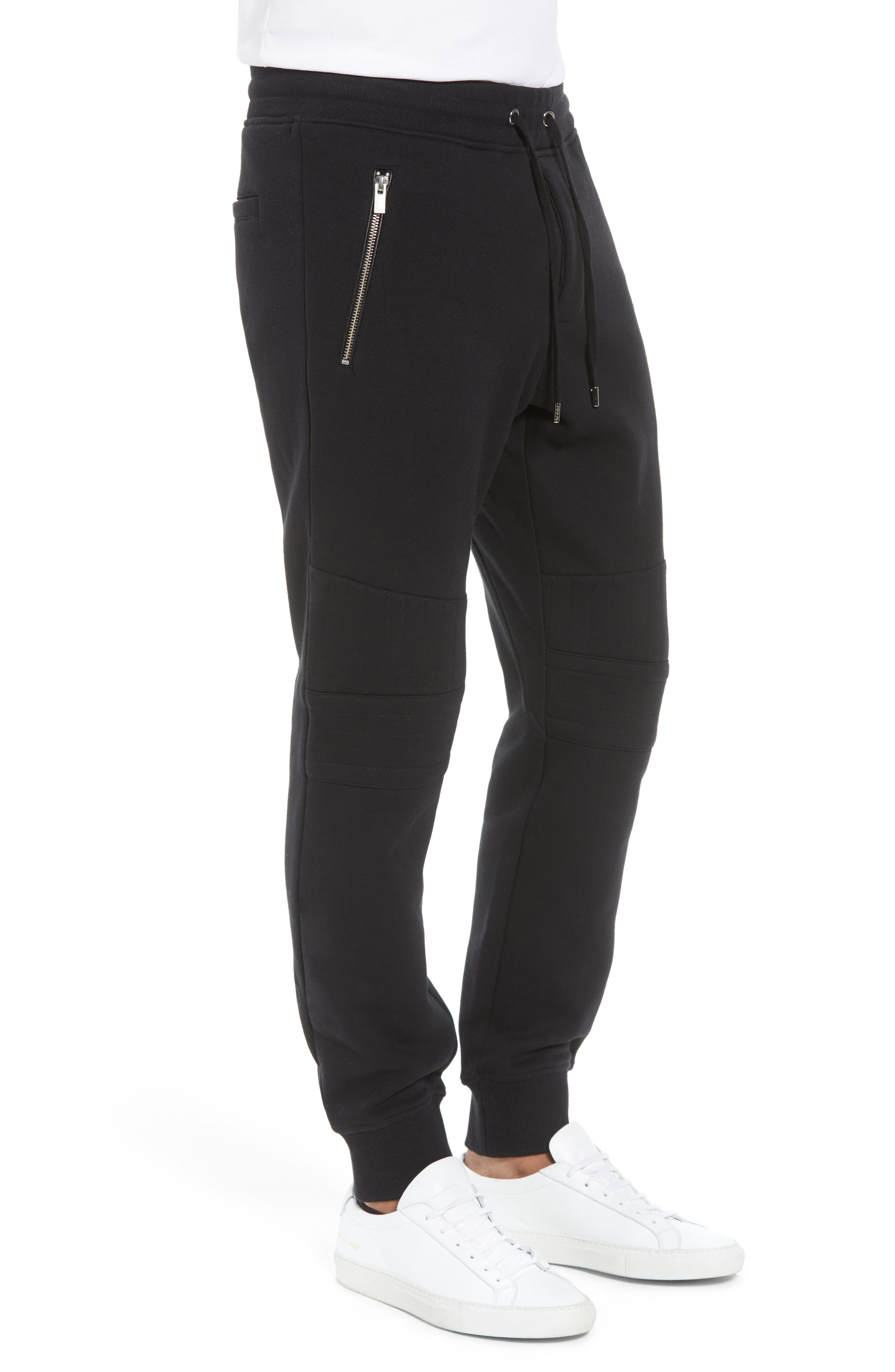 Classic Slim Fit Fleece Joggers,                             Alternate thumbnail 3, color,                             BLACK BLA01