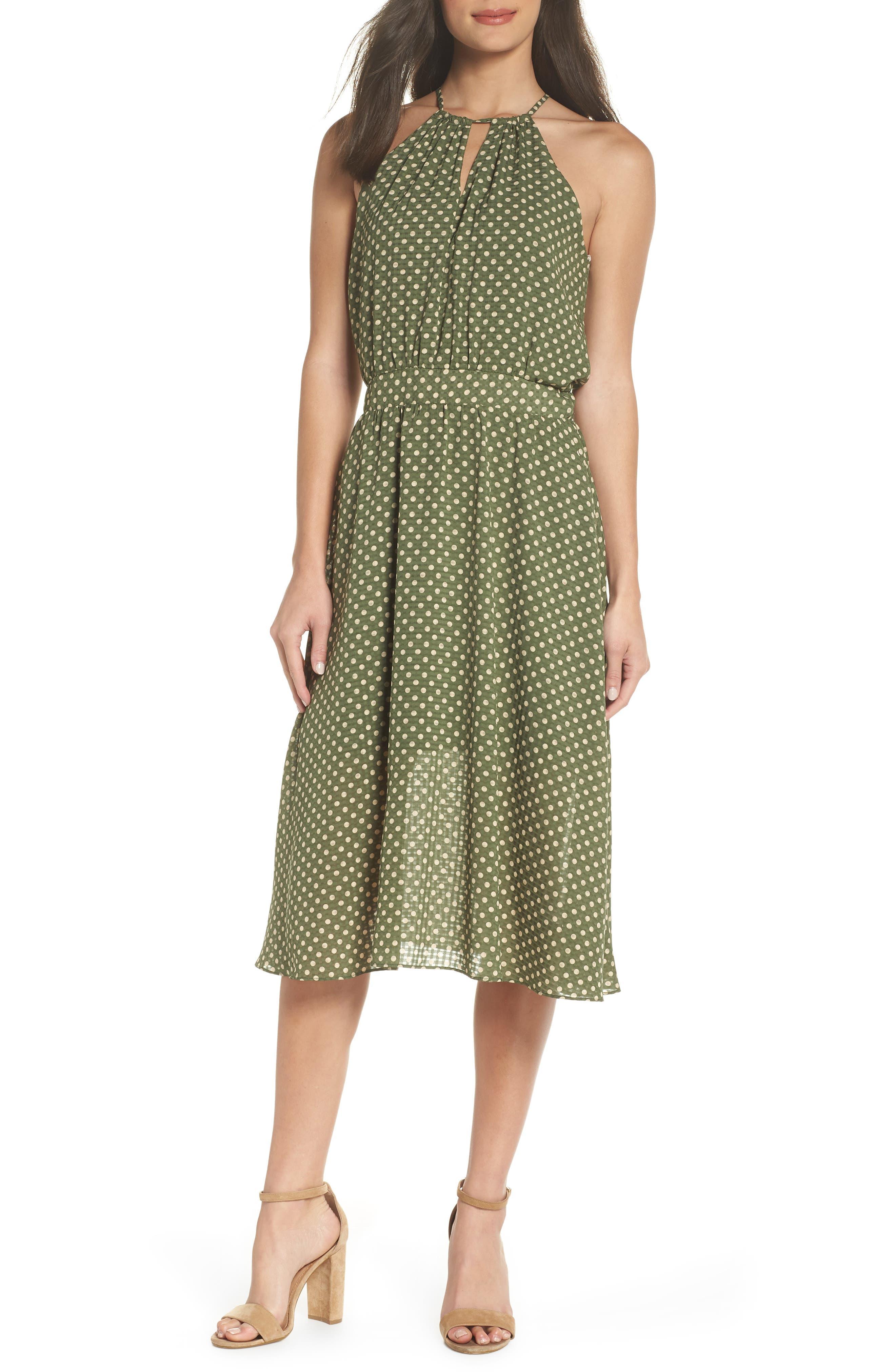 Polka Dot Halter Dress,                             Main thumbnail 1, color,                             350