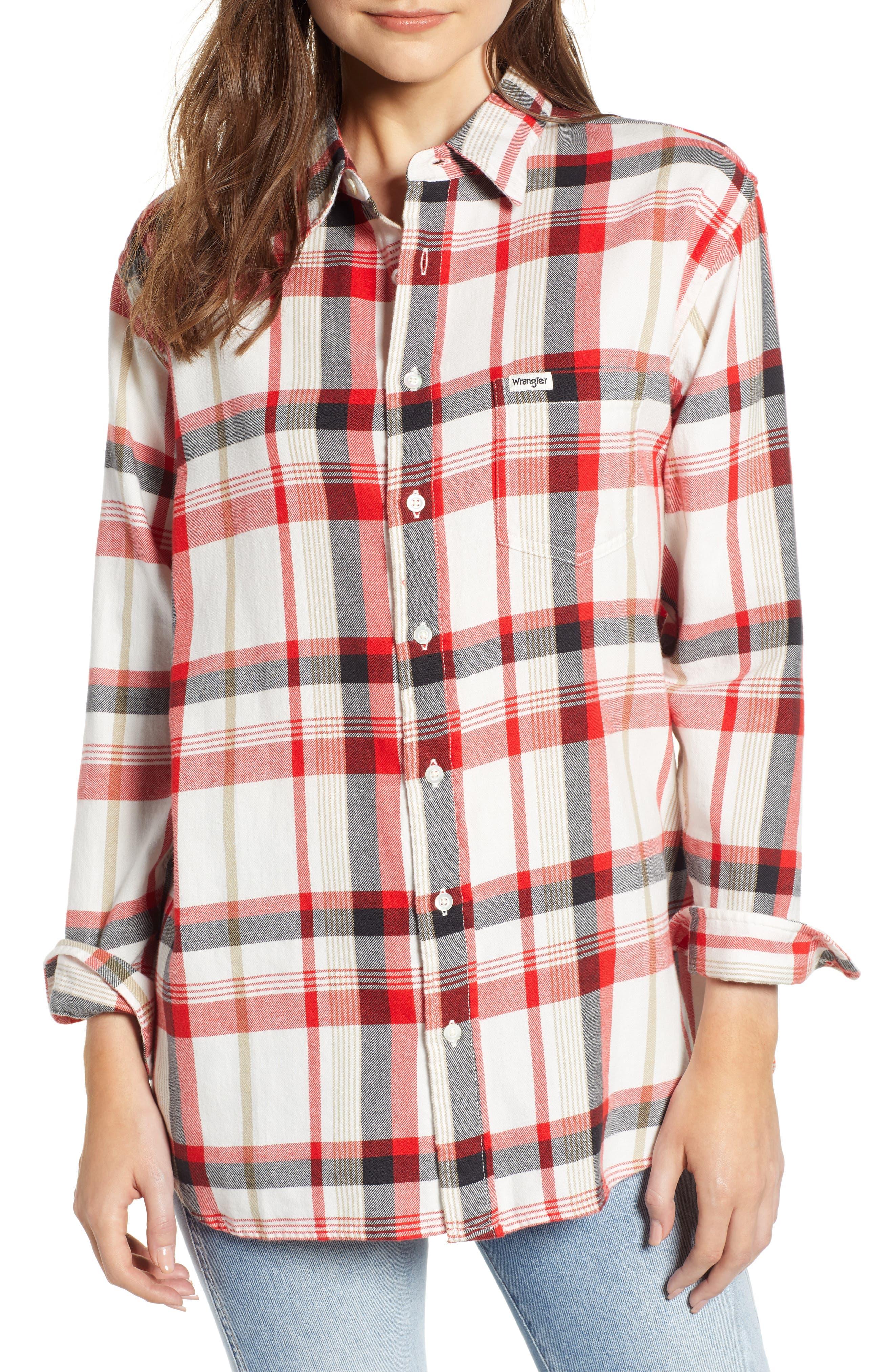 Wrangler Flannel Boyfriend Shirt, Ivory
