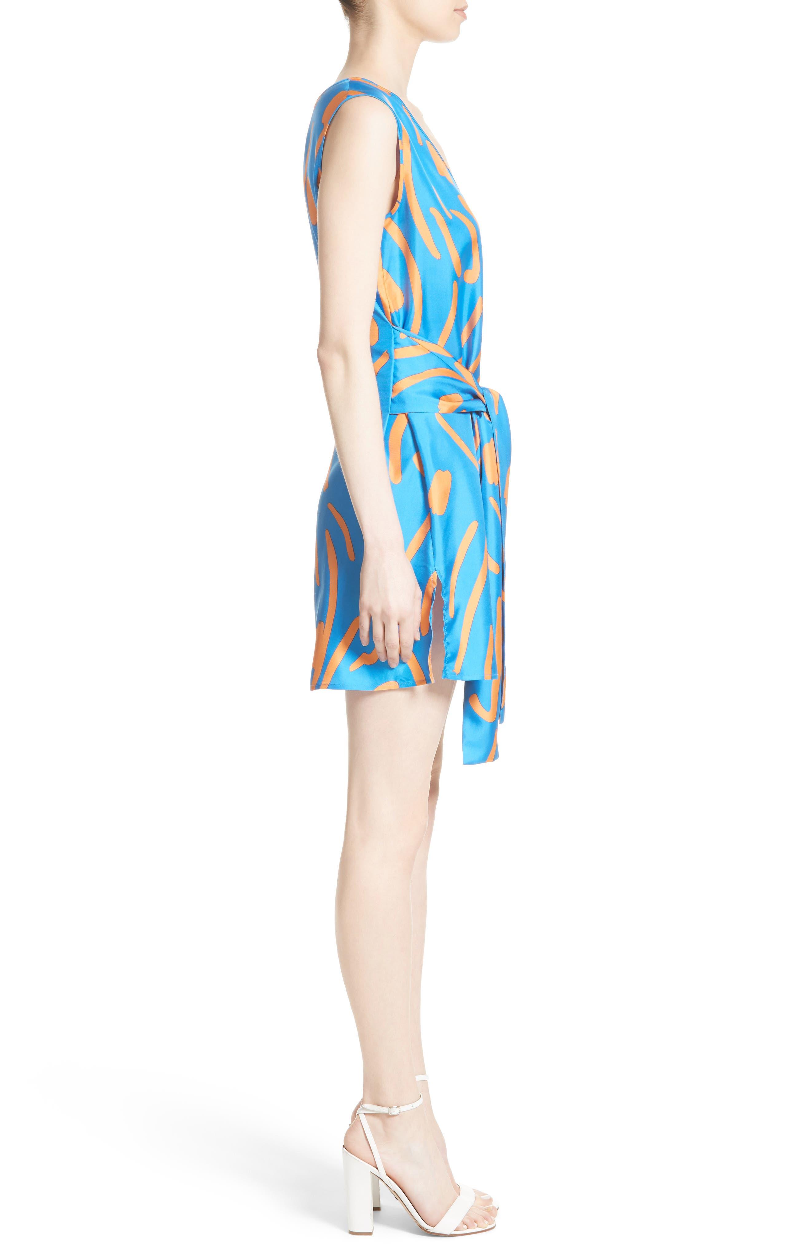Tie Front Faux Wrap Silk Dress,                             Alternate thumbnail 3, color,