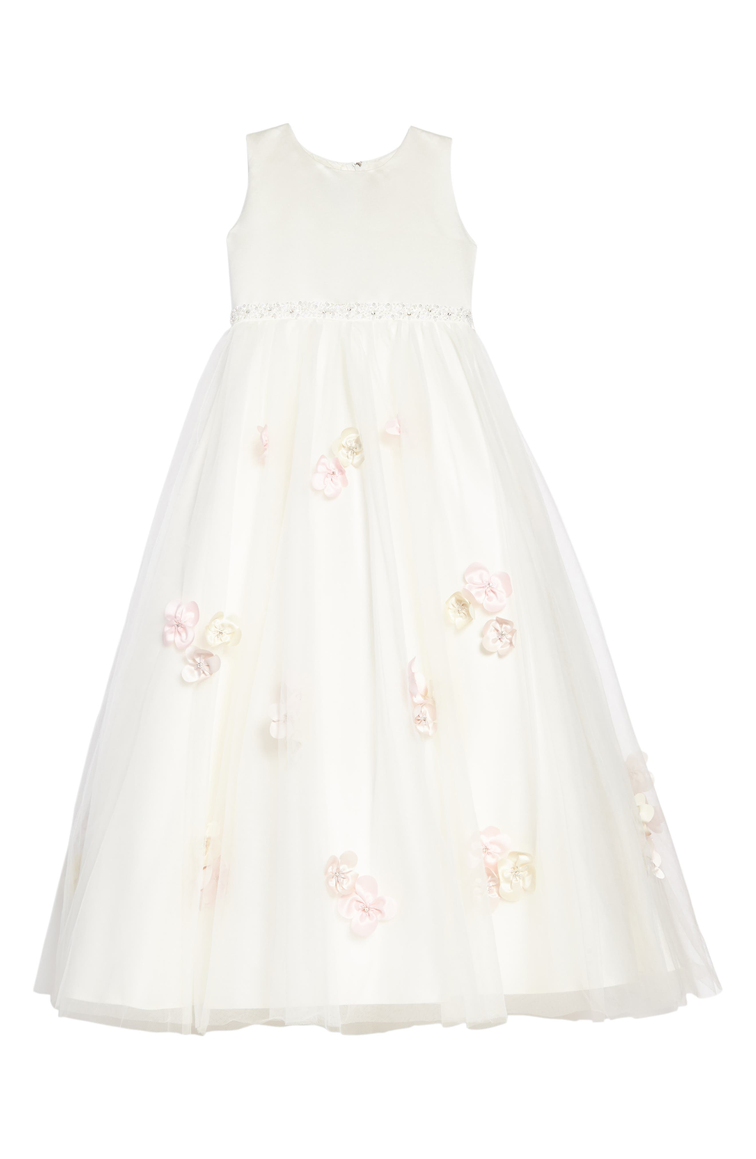 Beaded Satin & Tulle Dress,                         Main,                         color, IVORY/ PETAL/ MULTI