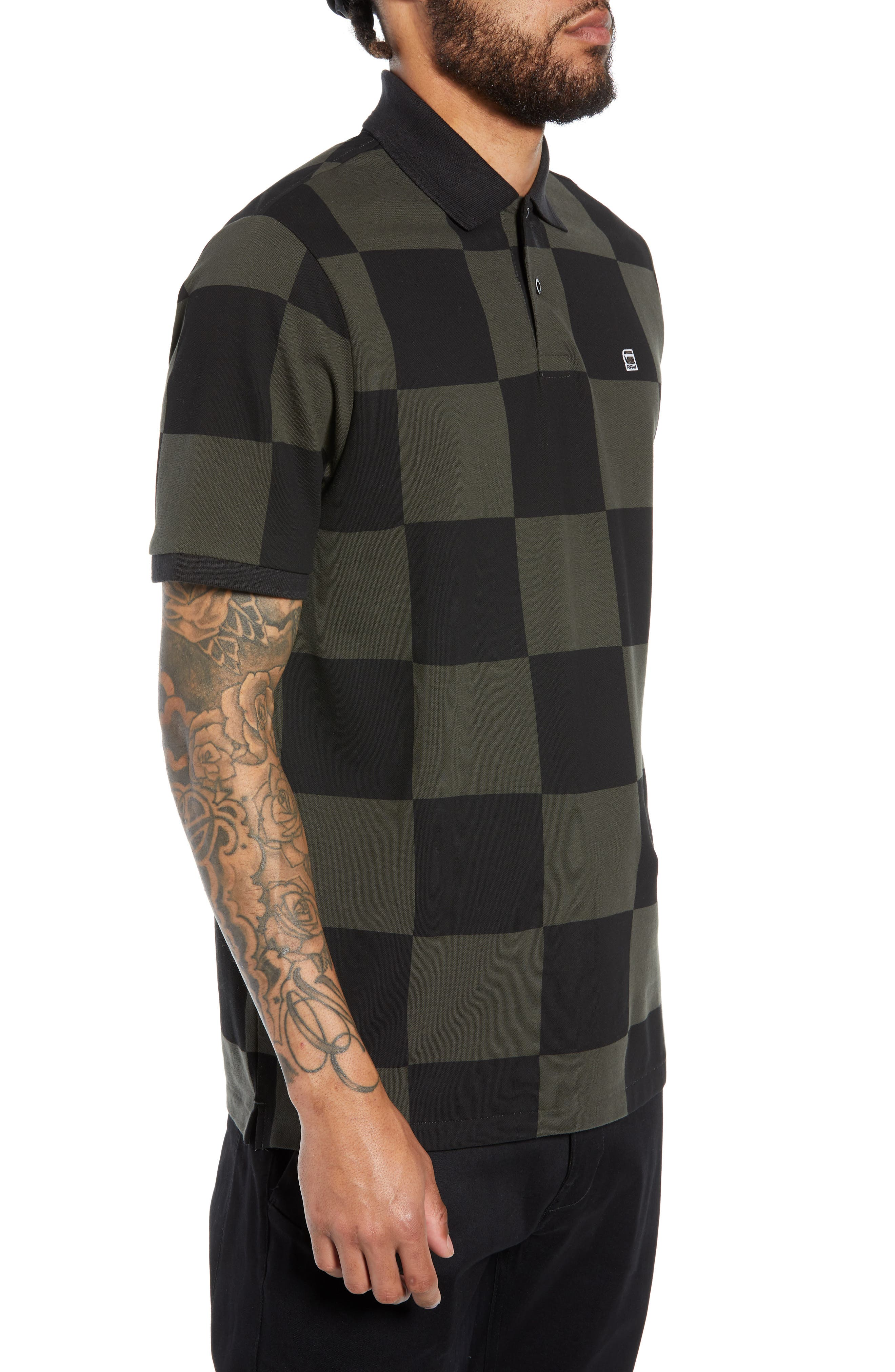 G-STAR RAW,                             Holliday Core Checker Piqué Polo,                             Alternate thumbnail 3, color,                             020