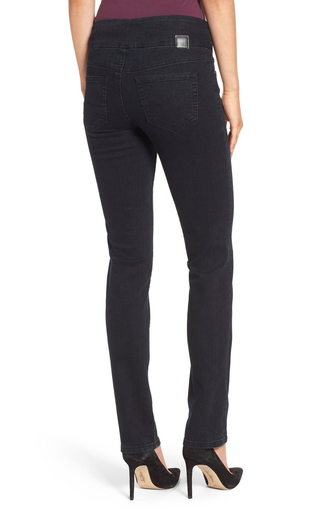 'Peri' Straight Leg Pull-On Jeans,                             Alternate thumbnail 3, color,                             001
