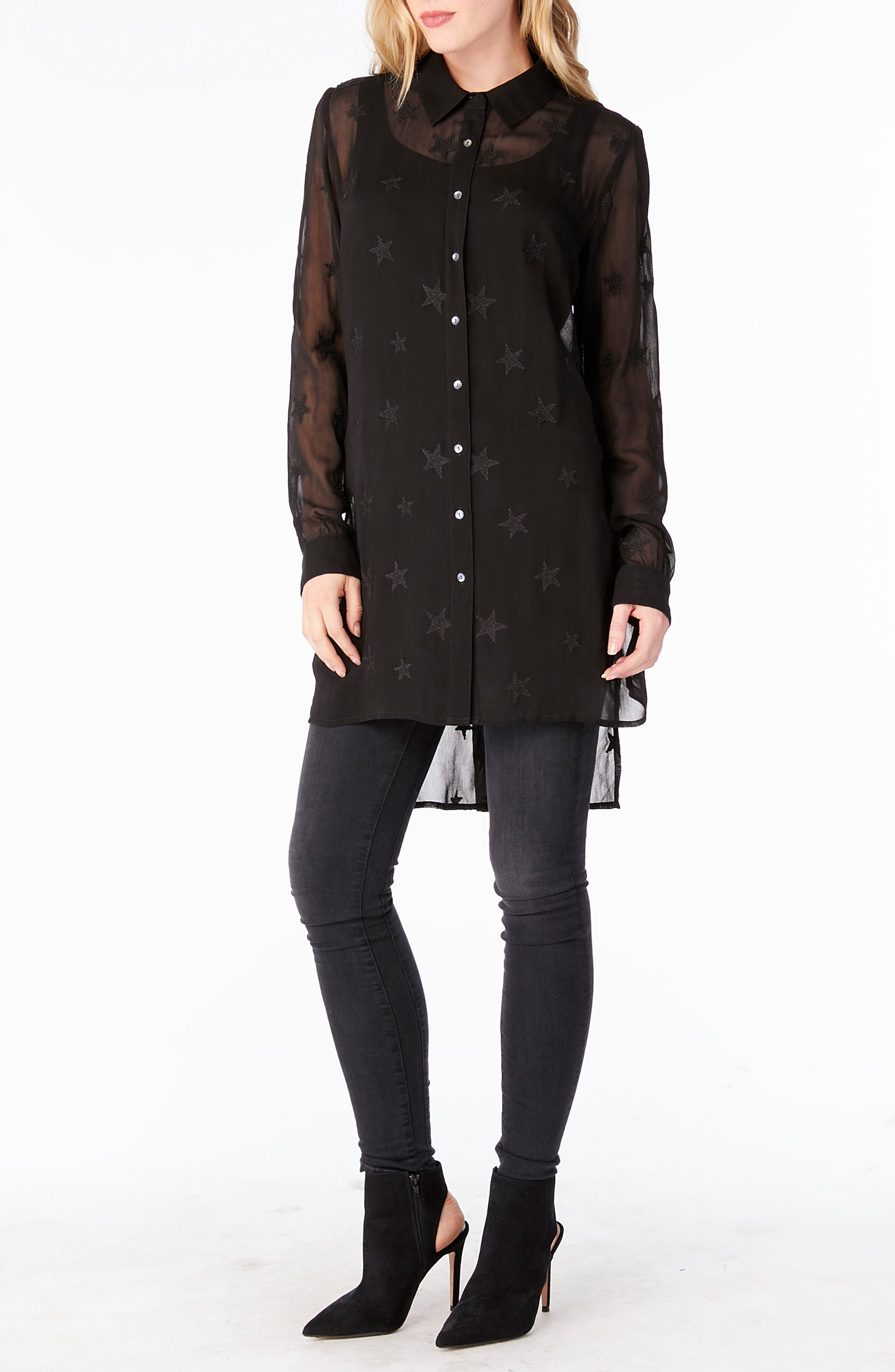 Embroidered Bell Sleeve Top,                             Alternate thumbnail 4, color,                             001