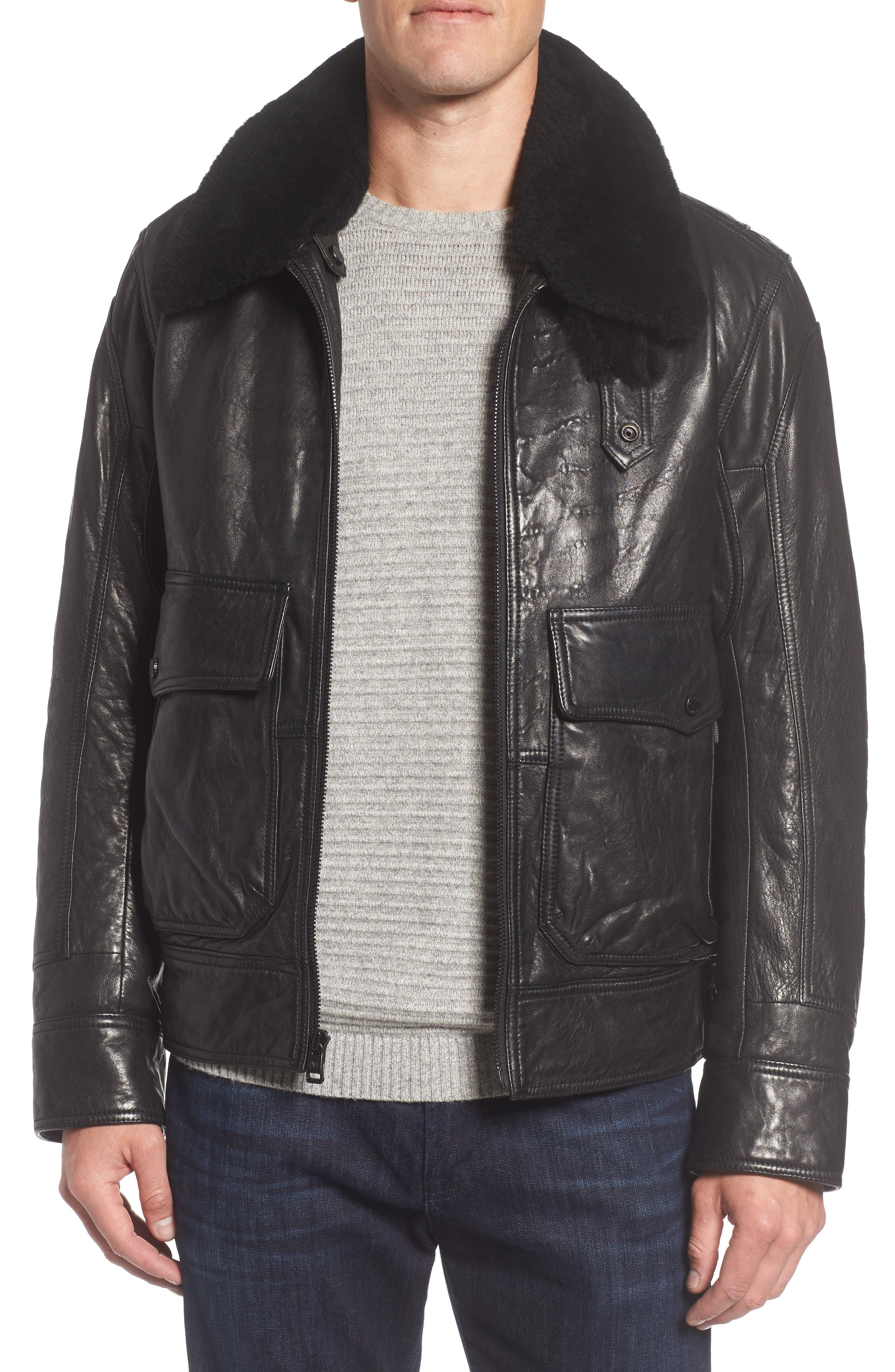 3614 Leather Jacket with Genuine Lamb Shearling Collar,                             Main thumbnail 1, color,                             001