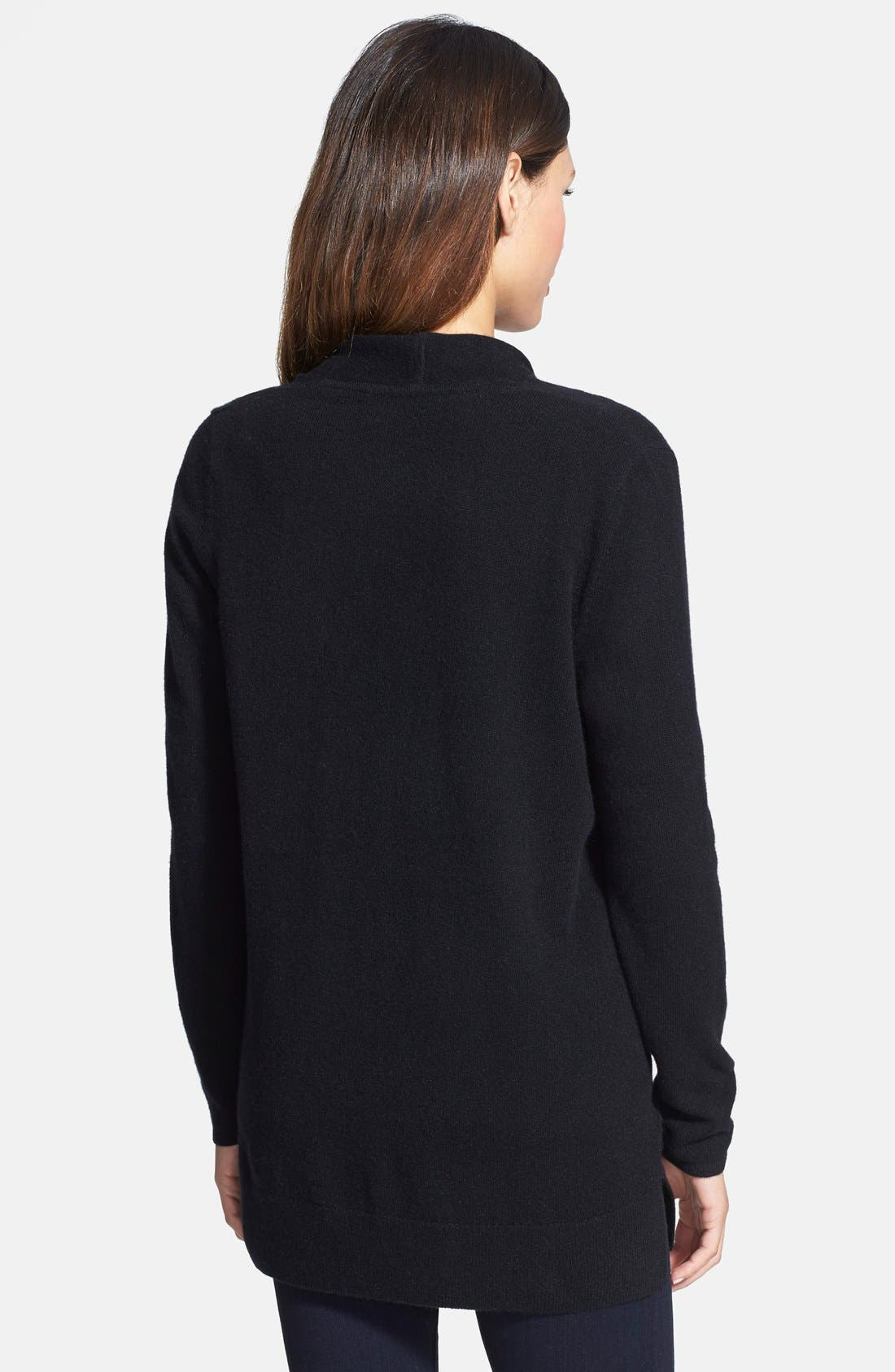Open Front Cashmere Cardigan,                             Alternate thumbnail 3, color,                             001
