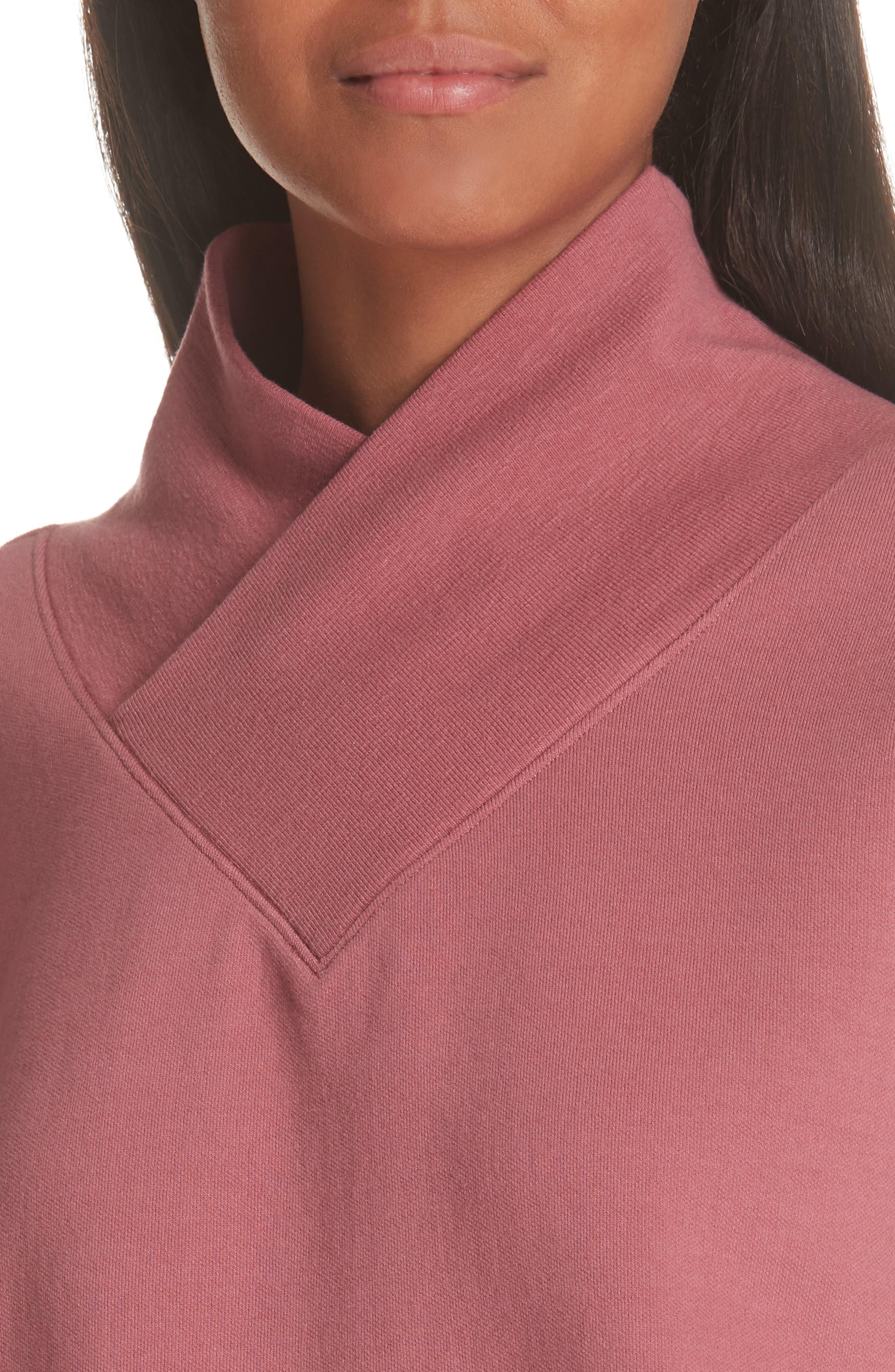 Unbalanced Sweatshirt,                             Alternate thumbnail 4, color,                             BURGUNDY