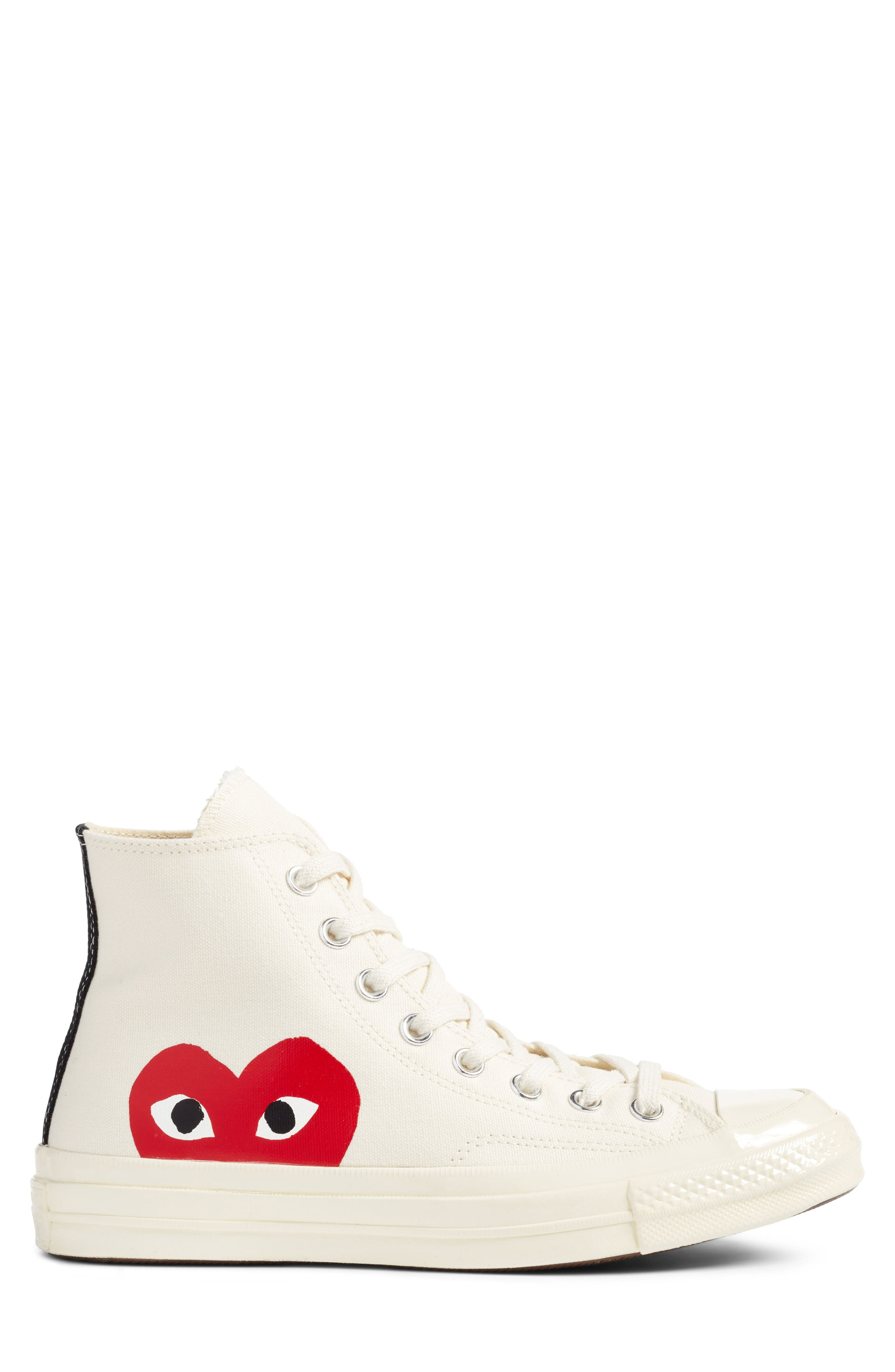 COMME DES GARÇONS,                             PLAY x Converse Chuck Taylor<sup>®</sup> Hidden Heart High Top Sneaker,                             Alternate thumbnail 3, color,                             WHITE CANVAS