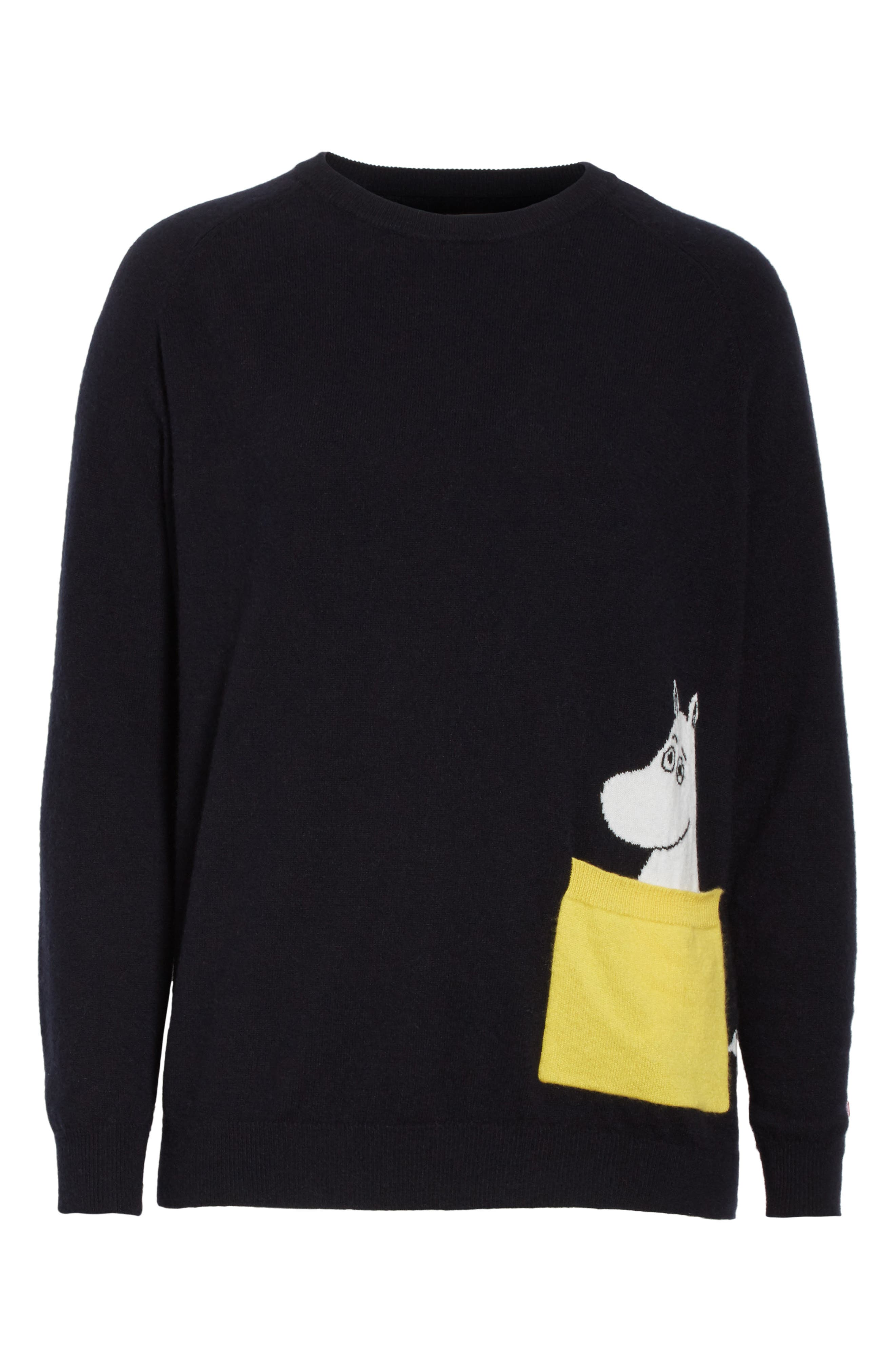 CHINTI & PARKER Moomin Pocket Cashmere Sweater,                             Alternate thumbnail 6, color,                             410