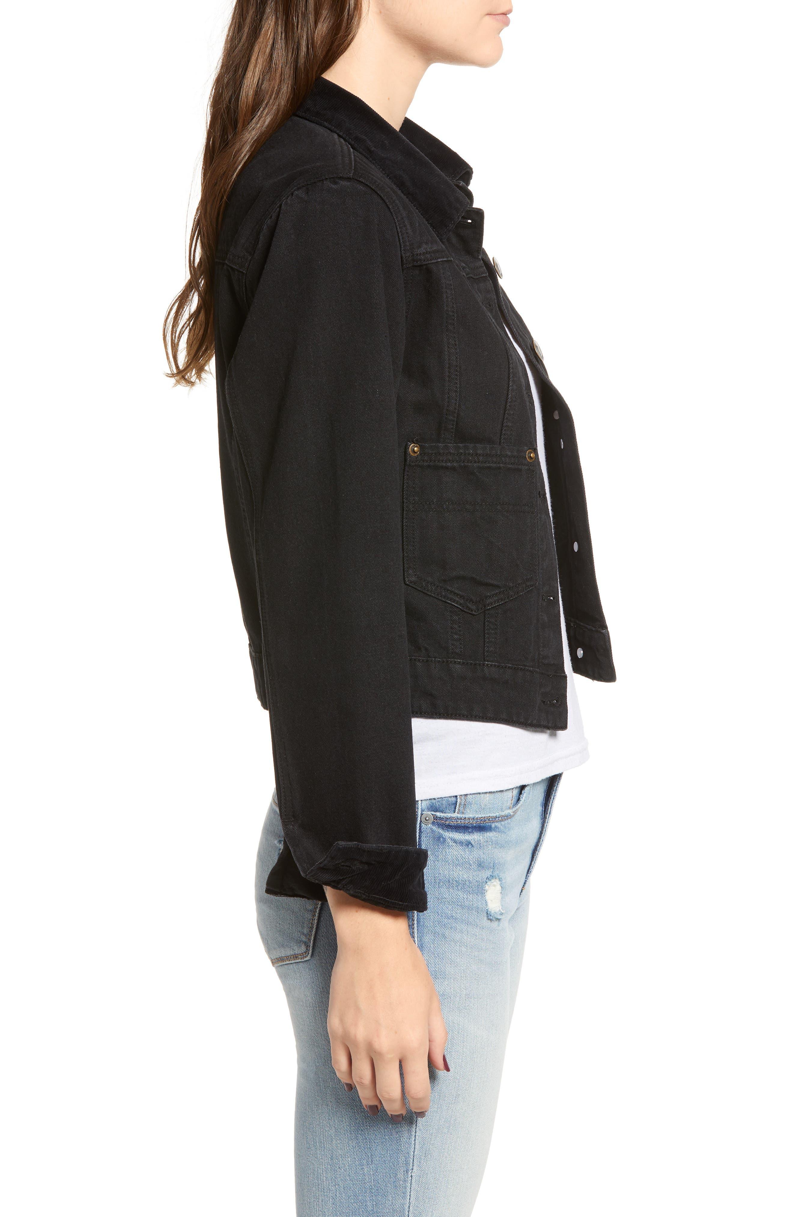 Polara Denim Jacket,                             Alternate thumbnail 3, color,                             WASHED BLACK