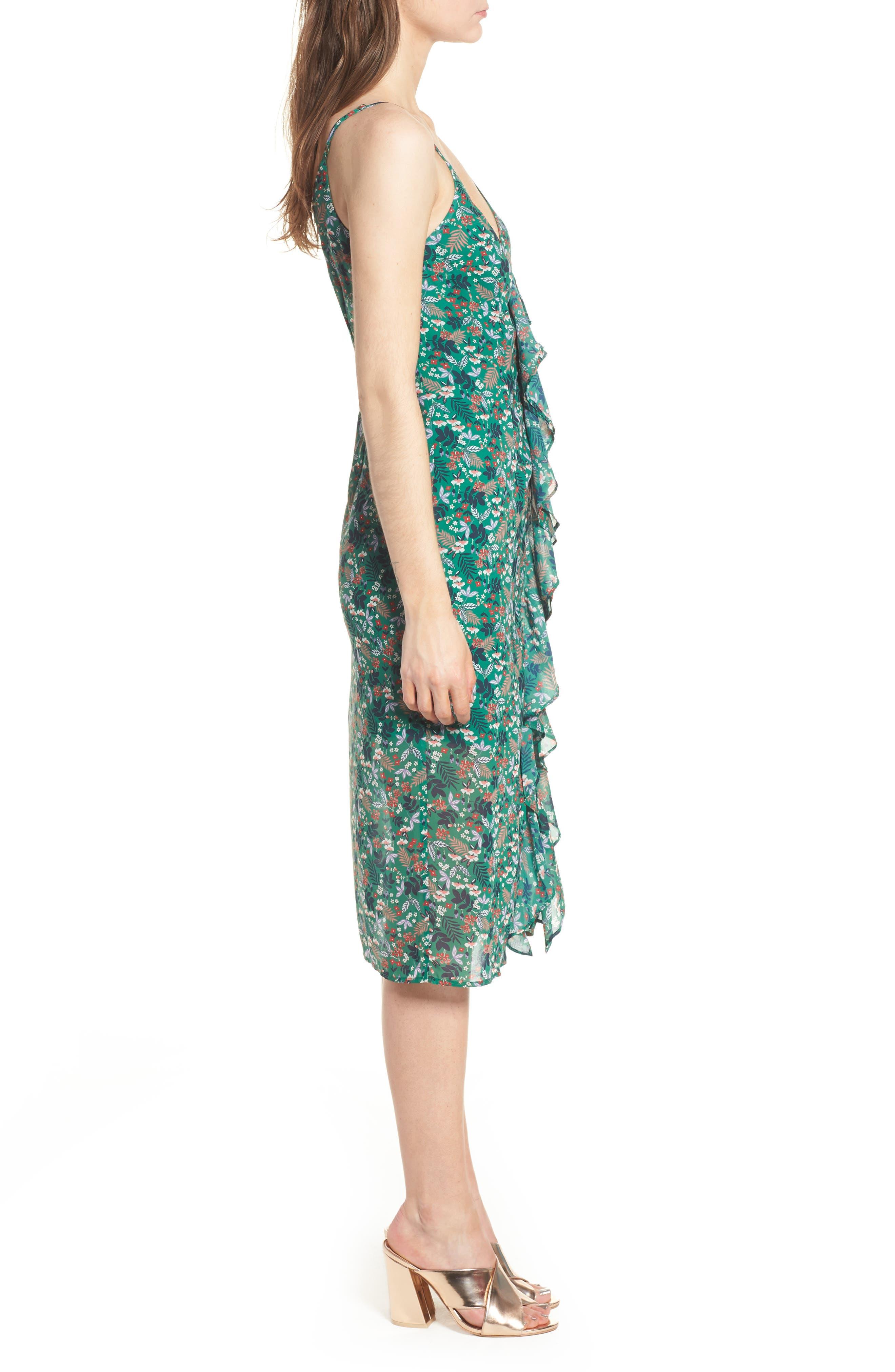 Viridian Ruffle Floral Print Dress,                             Alternate thumbnail 3, color,                             305