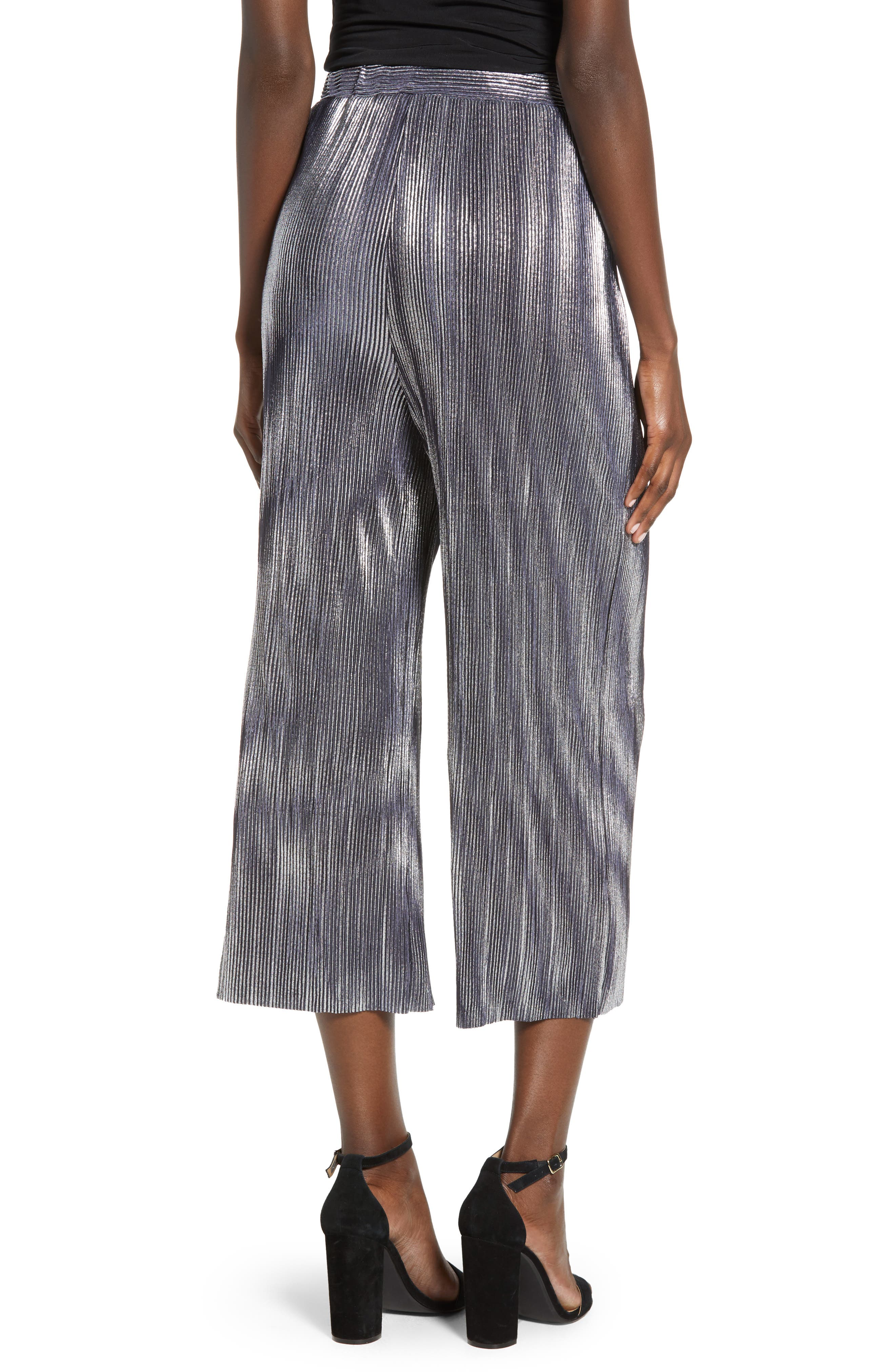 Metallic Mini Pleat Gaucho Crop Pants,                             Alternate thumbnail 2, color,                             SILVER