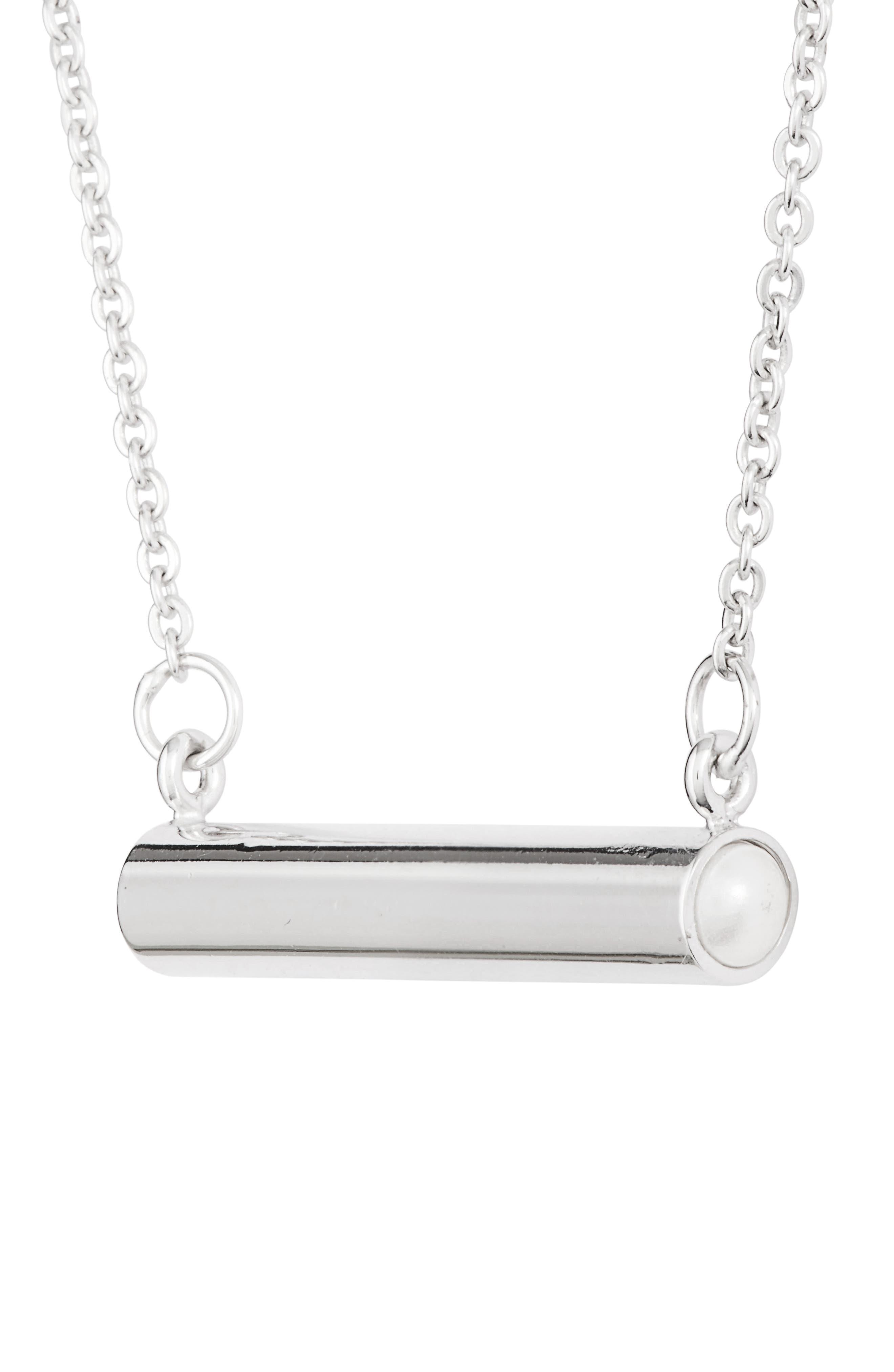 June Imitation Pearl Bar Pendant Necklace,                             Alternate thumbnail 3, color,                             040