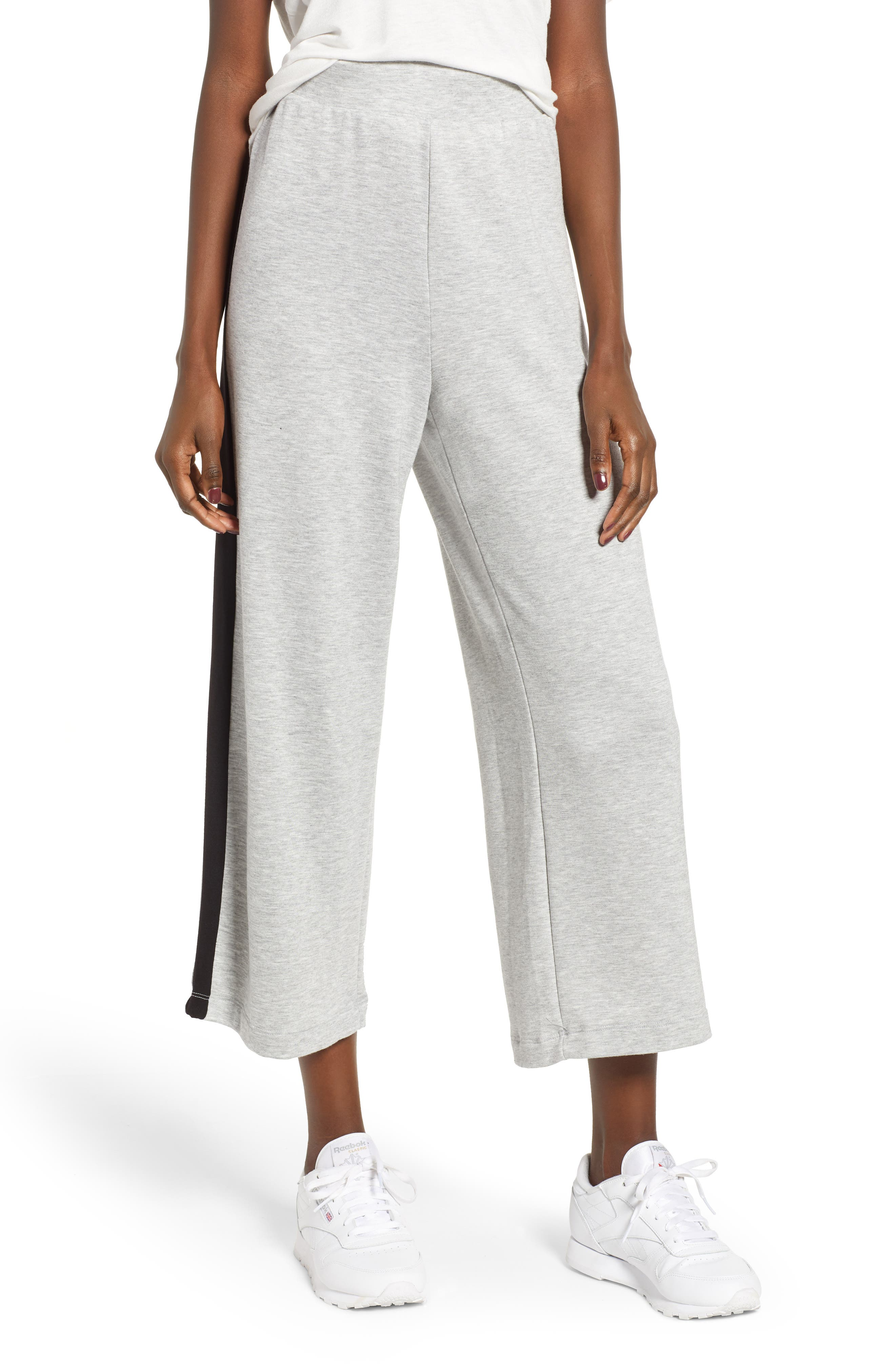 Sporty Wide Leg Crop Pants,                             Main thumbnail 1, color,                             GREY PEARL HEATHER