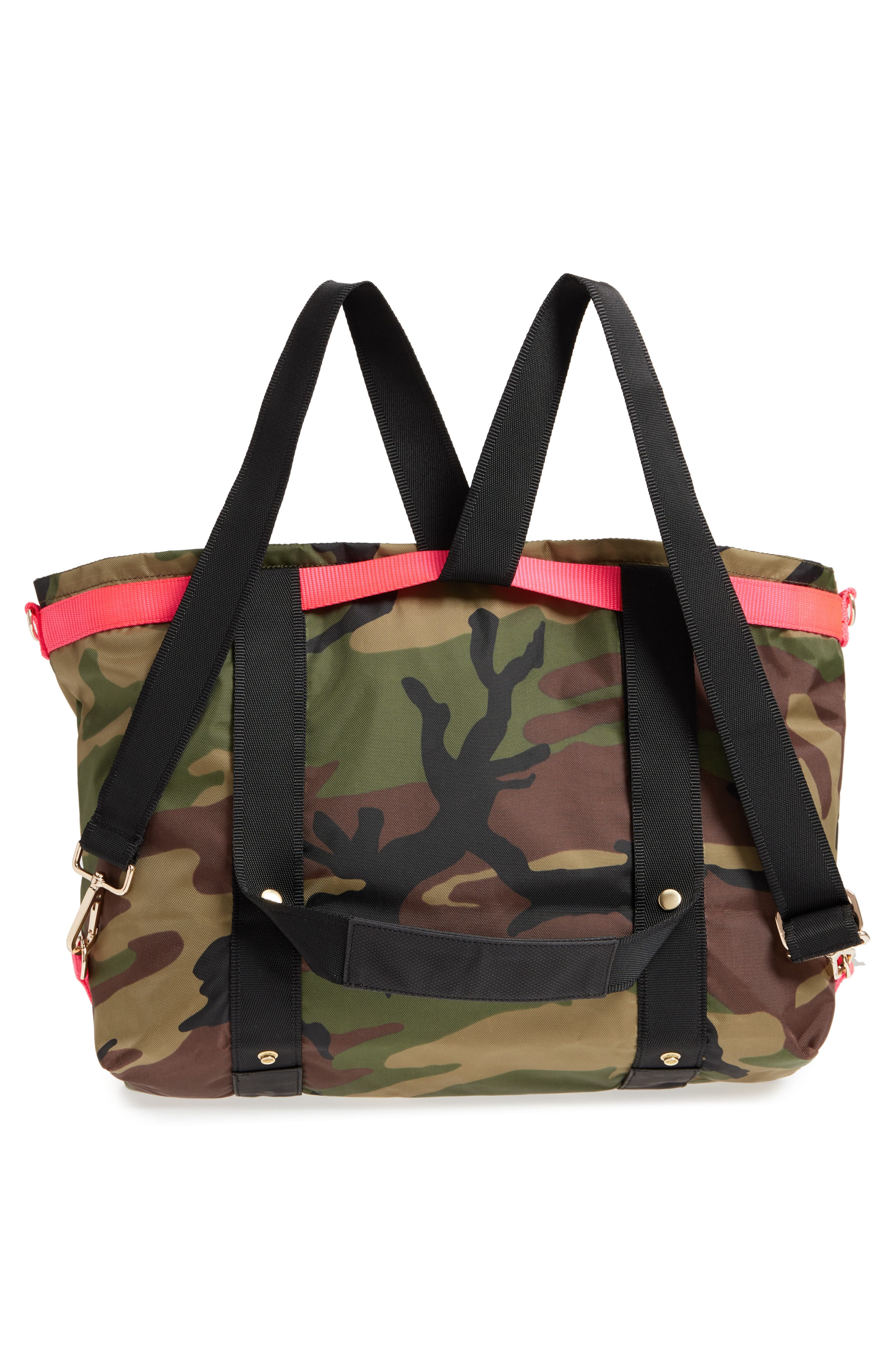 The ANDI Camo Convertible Tote,                             Alternate thumbnail 3, color,                             WOODLAND CAMOUFLAGE/ HOT PINK