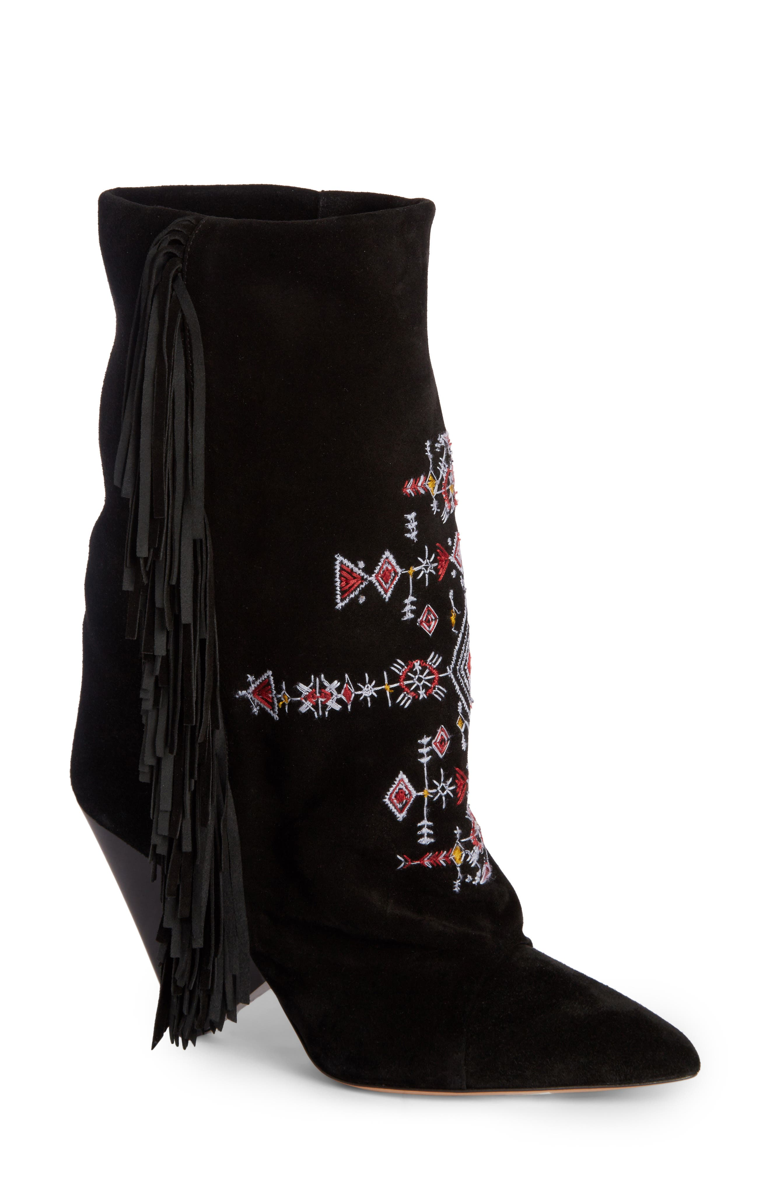 Lesten Embroidered Fringe Boot,                             Main thumbnail 1, color,                             001
