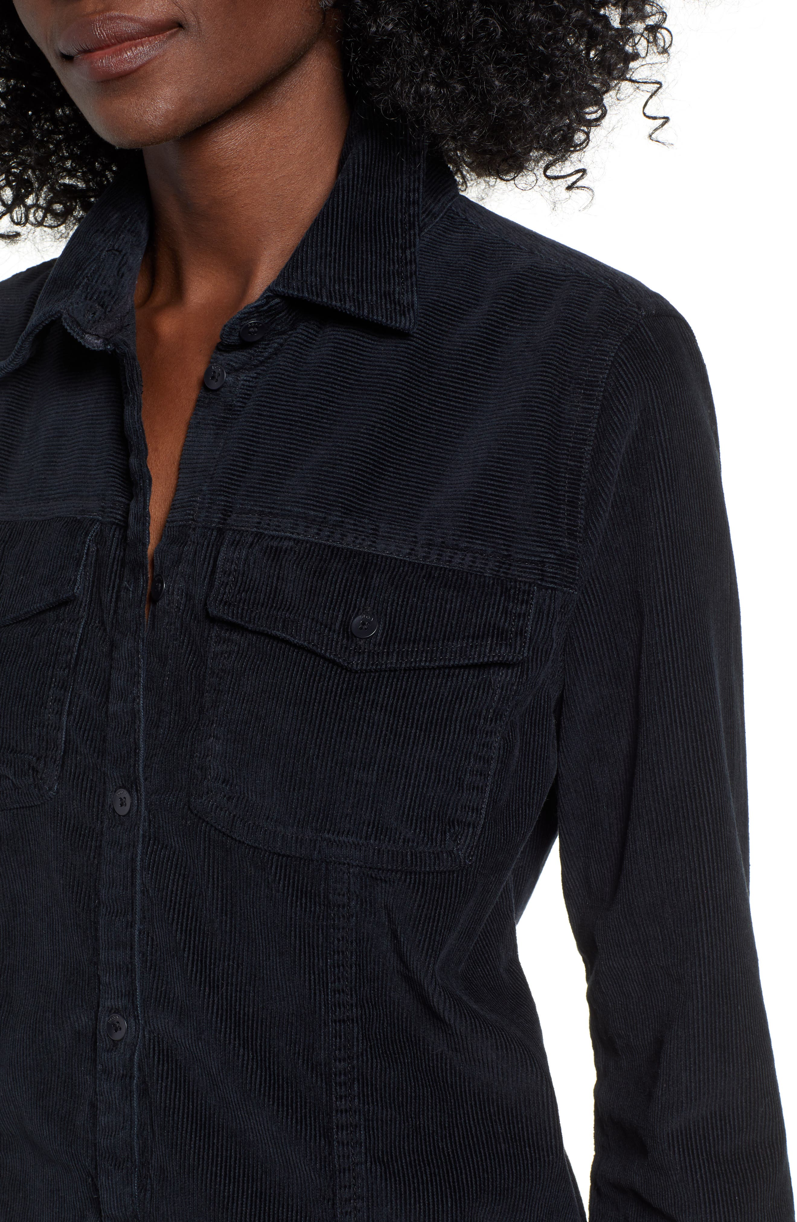 The Edge Of Wildness Corduroy Shirt,                             Alternate thumbnail 4, color,                             TRUE BLACK