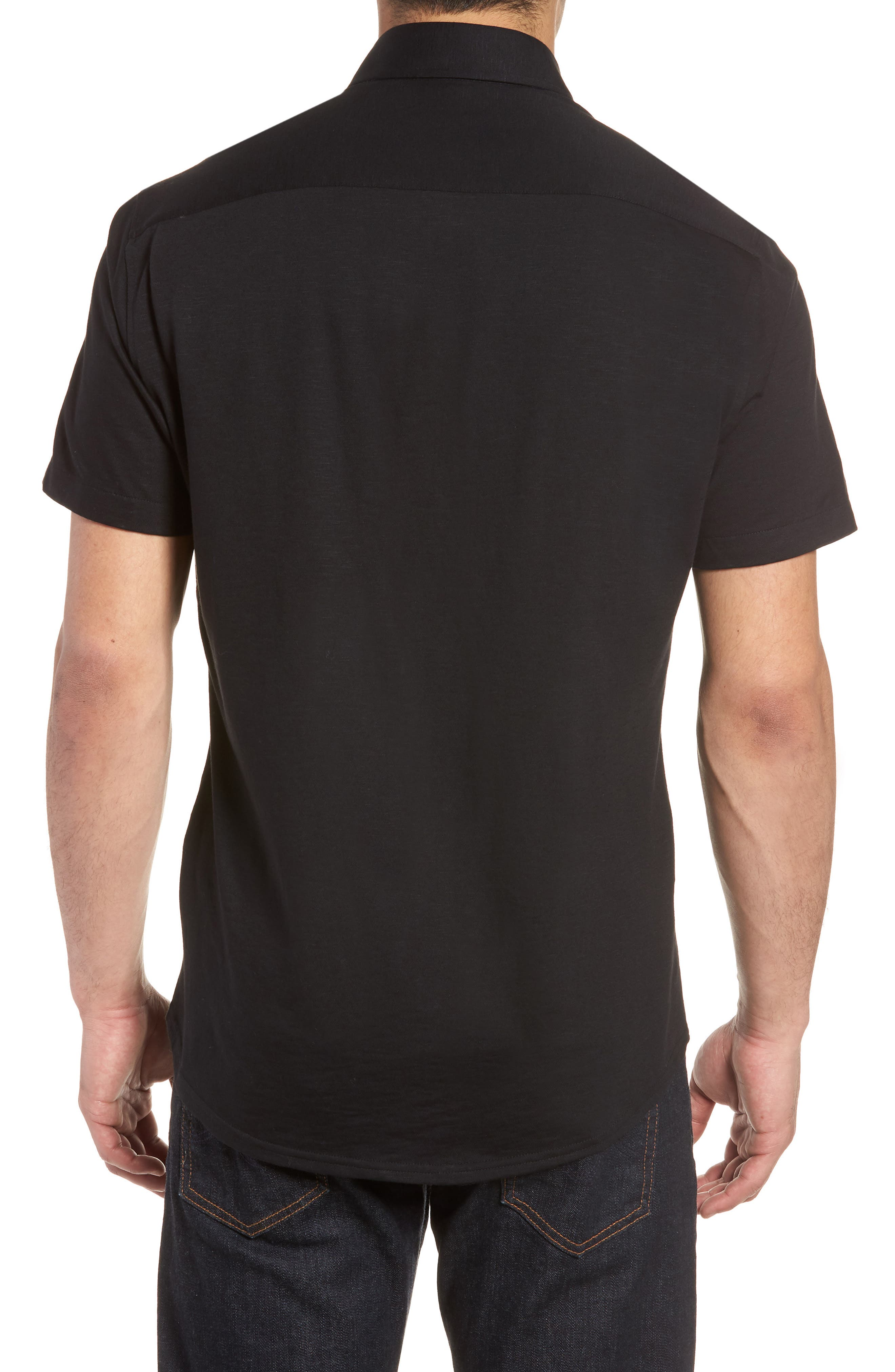 Slim Fit Flame Knit Sport Shirt,                             Alternate thumbnail 3, color,                             BLACK