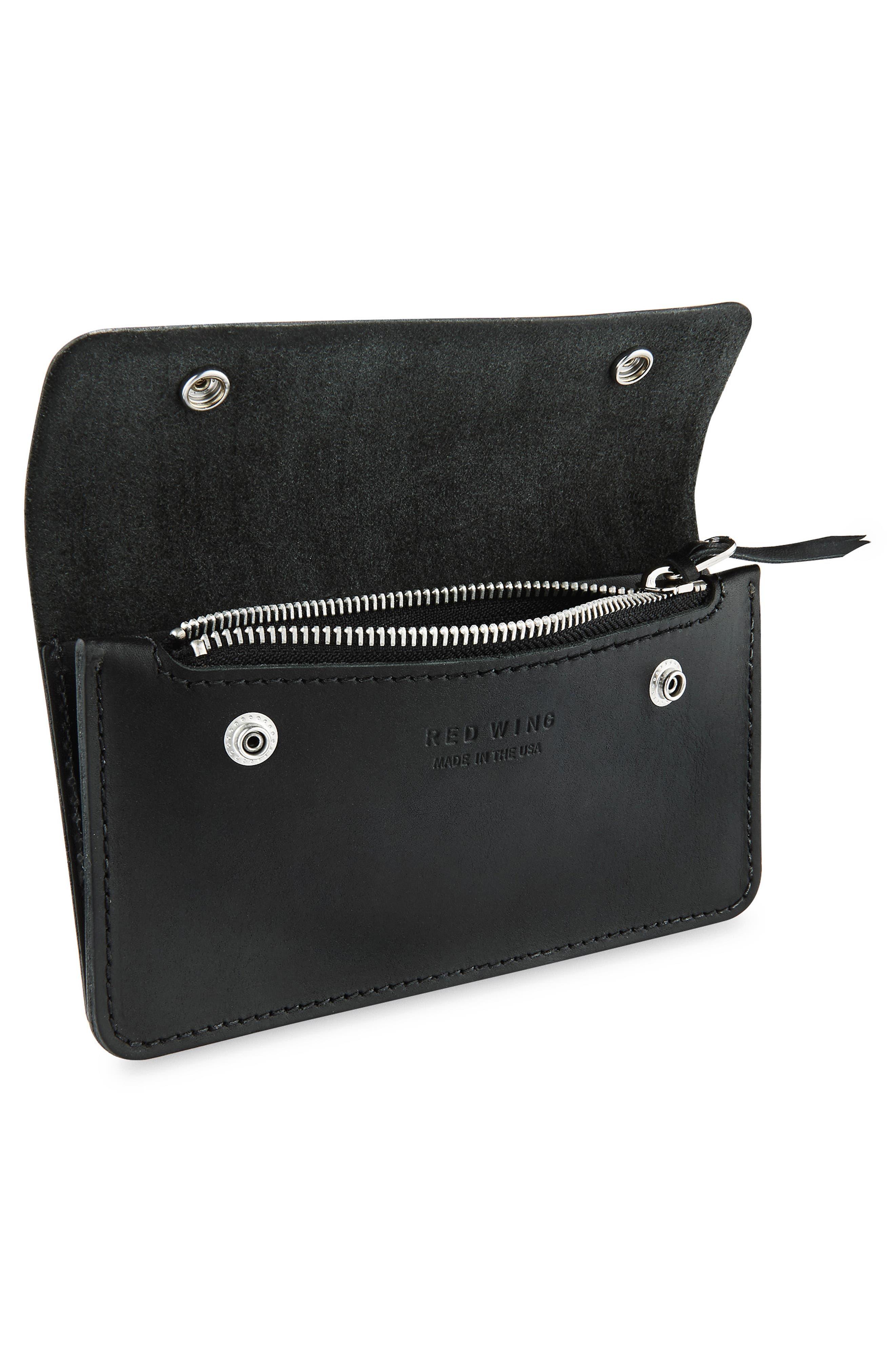 Leather Trucker Wallet,                             Alternate thumbnail 2, color,                             BLACK