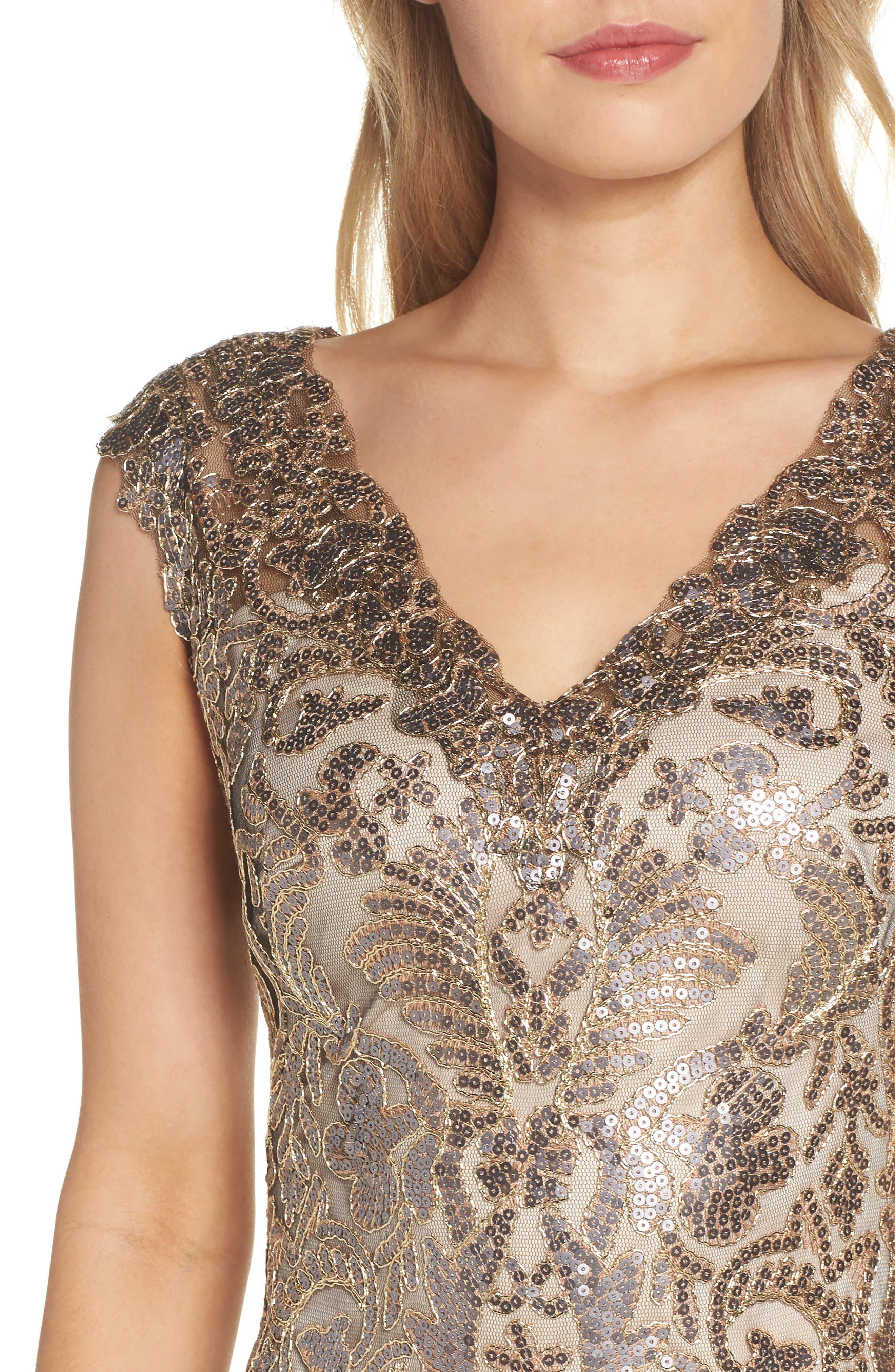 Sequin & Lace Sheath Dress,                             Alternate thumbnail 4, color,                             COPPER SHADOW
