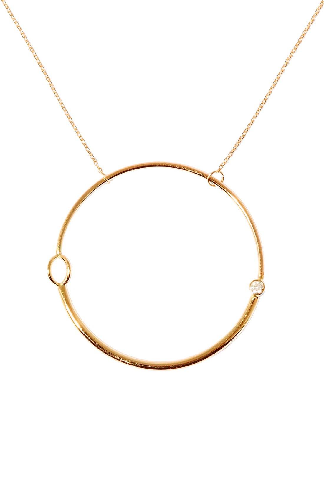 'Large Foam' Gold & Diamond Pendant Necklace,                             Main thumbnail 1, color,