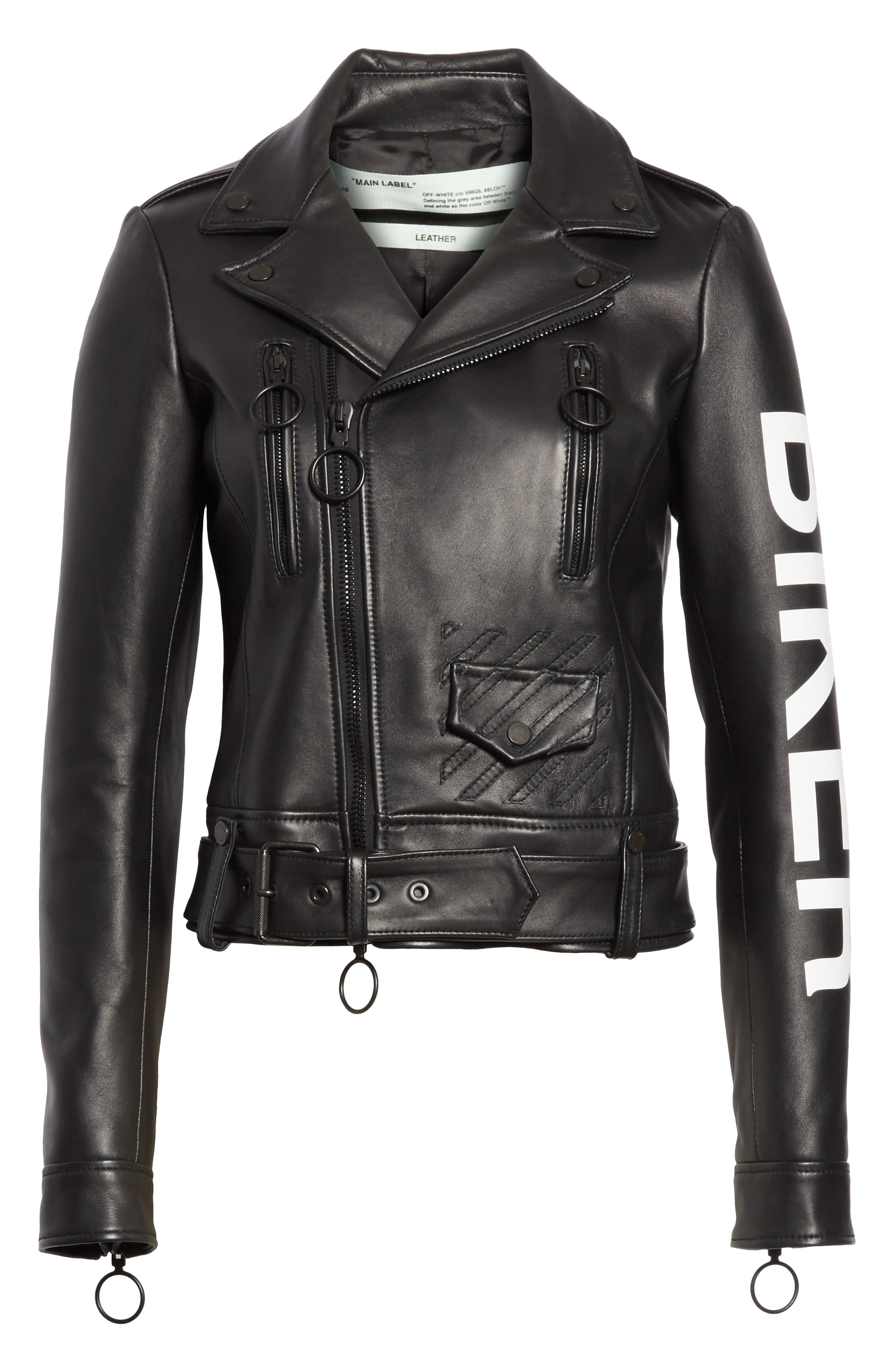 Leather Biker Jacket,                             Alternate thumbnail 5, color,
