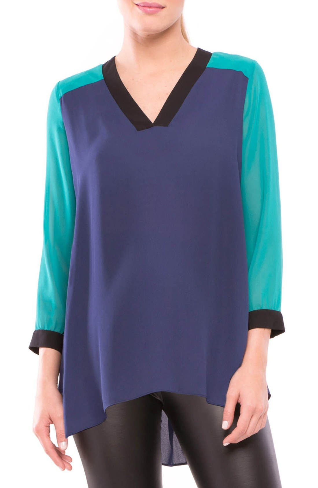 Leah Maternity Top,                         Main,                         color, NAVY/ TEAL/ BLACK