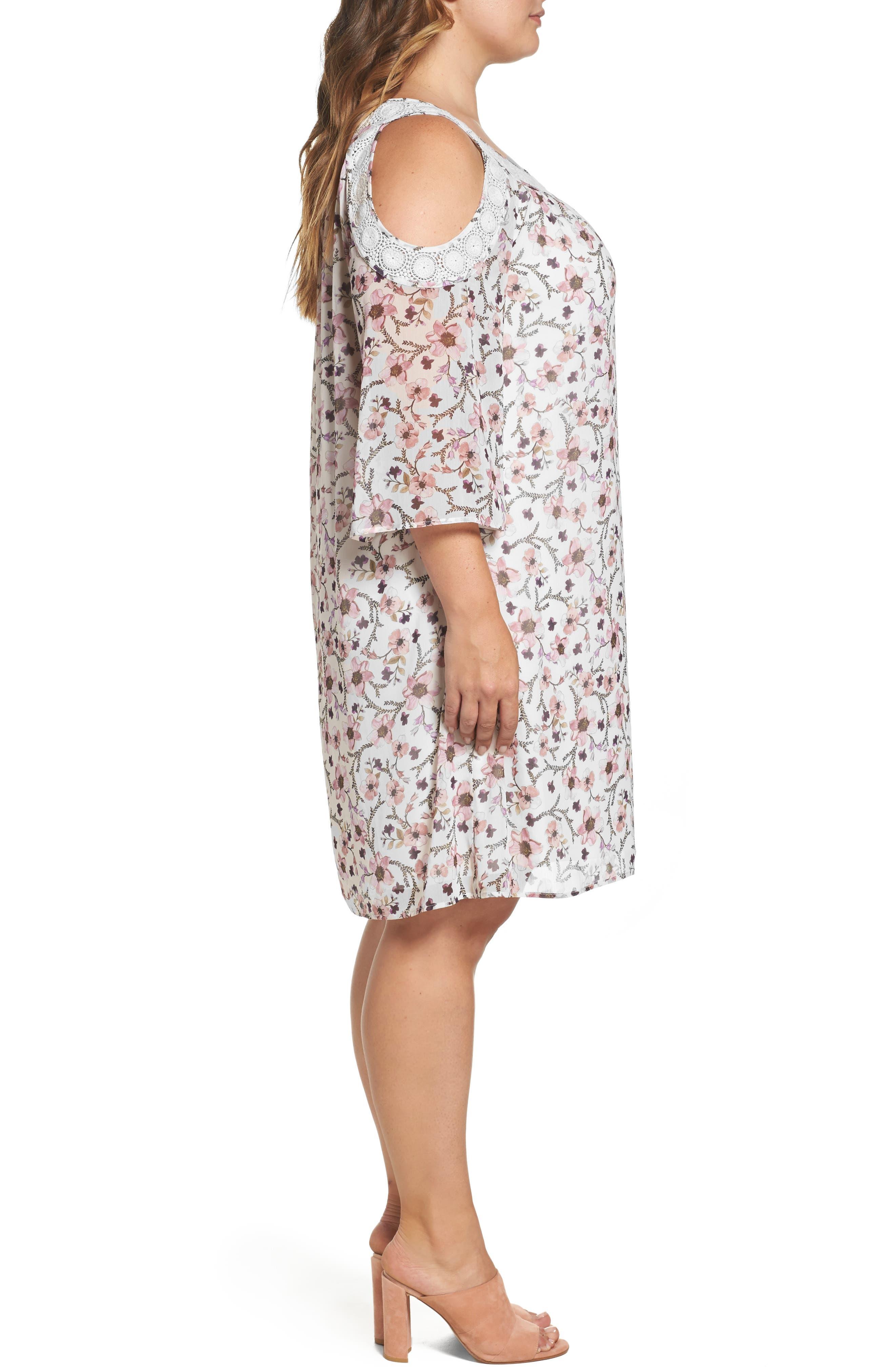 Lace Trim Cold Shoulder Shift Dress,                             Alternate thumbnail 3, color,                             900