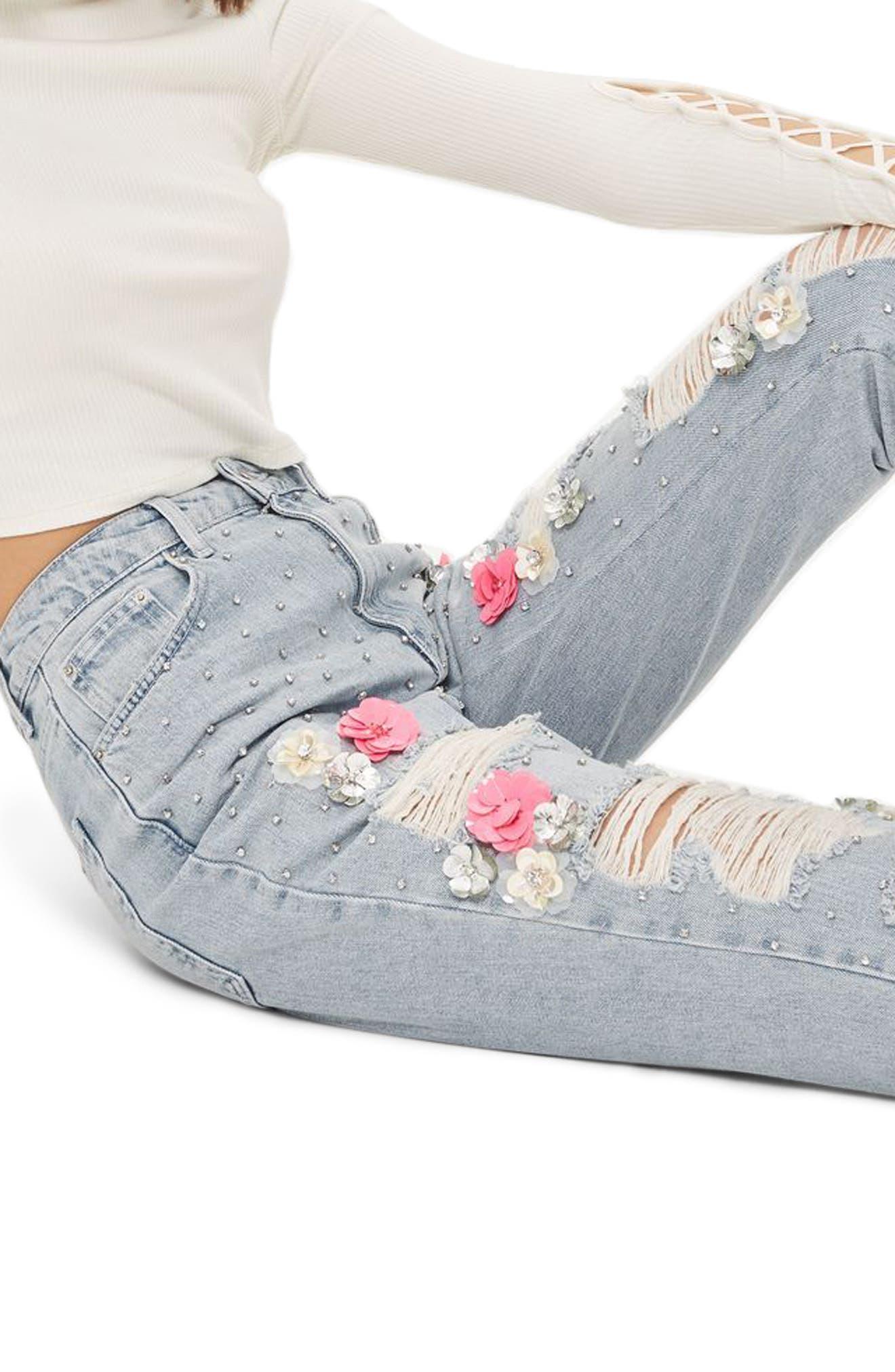 Bleach Floral Diamante Malibu Mom Jeans,                             Alternate thumbnail 3, color,
