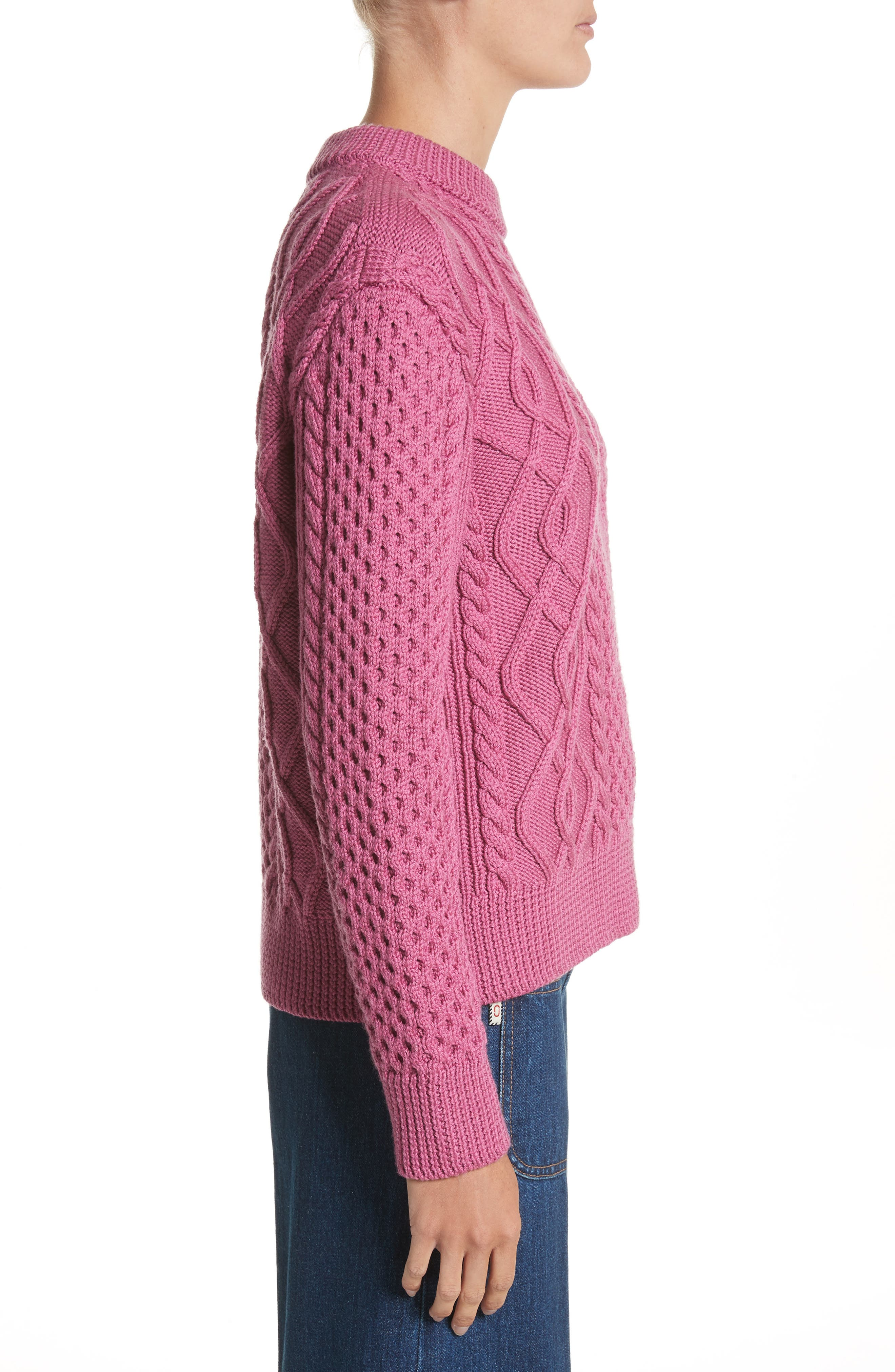 Merino Wool Cable Knit Sweater,                             Alternate thumbnail 3, color,