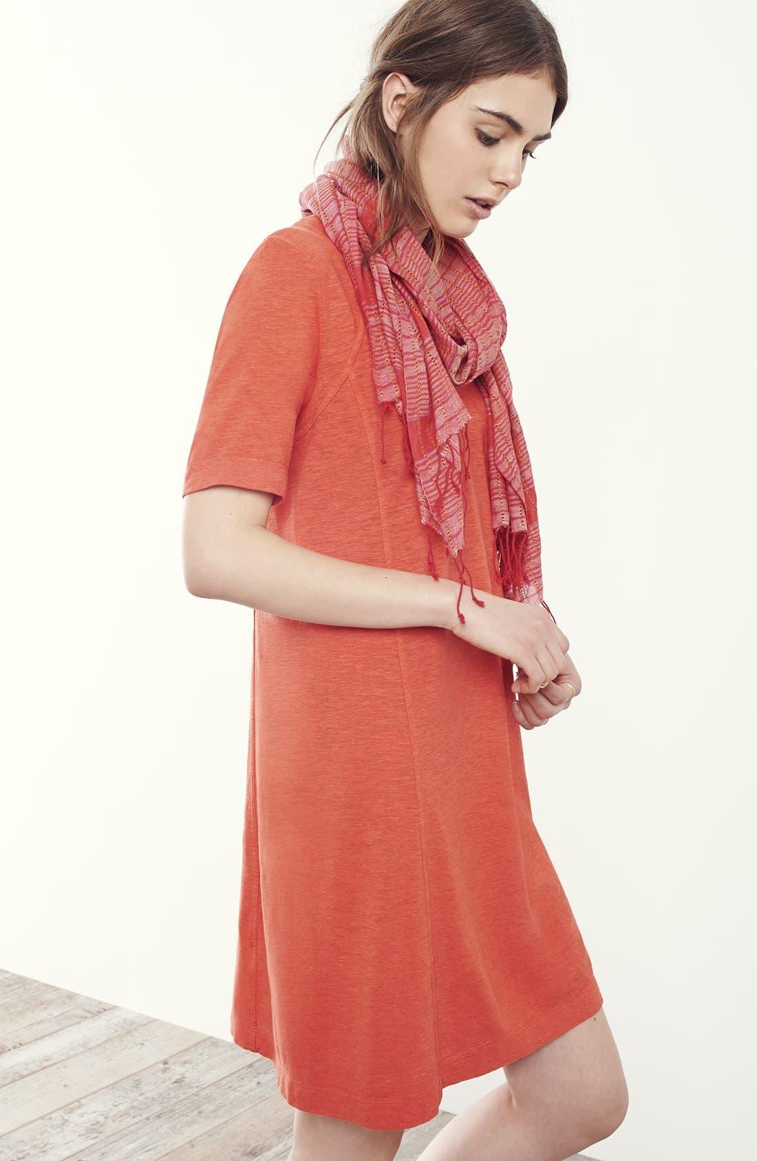 Hemp & Organic Cotton Deep V-Neck Dress,                             Alternate thumbnail 4, color,                             001