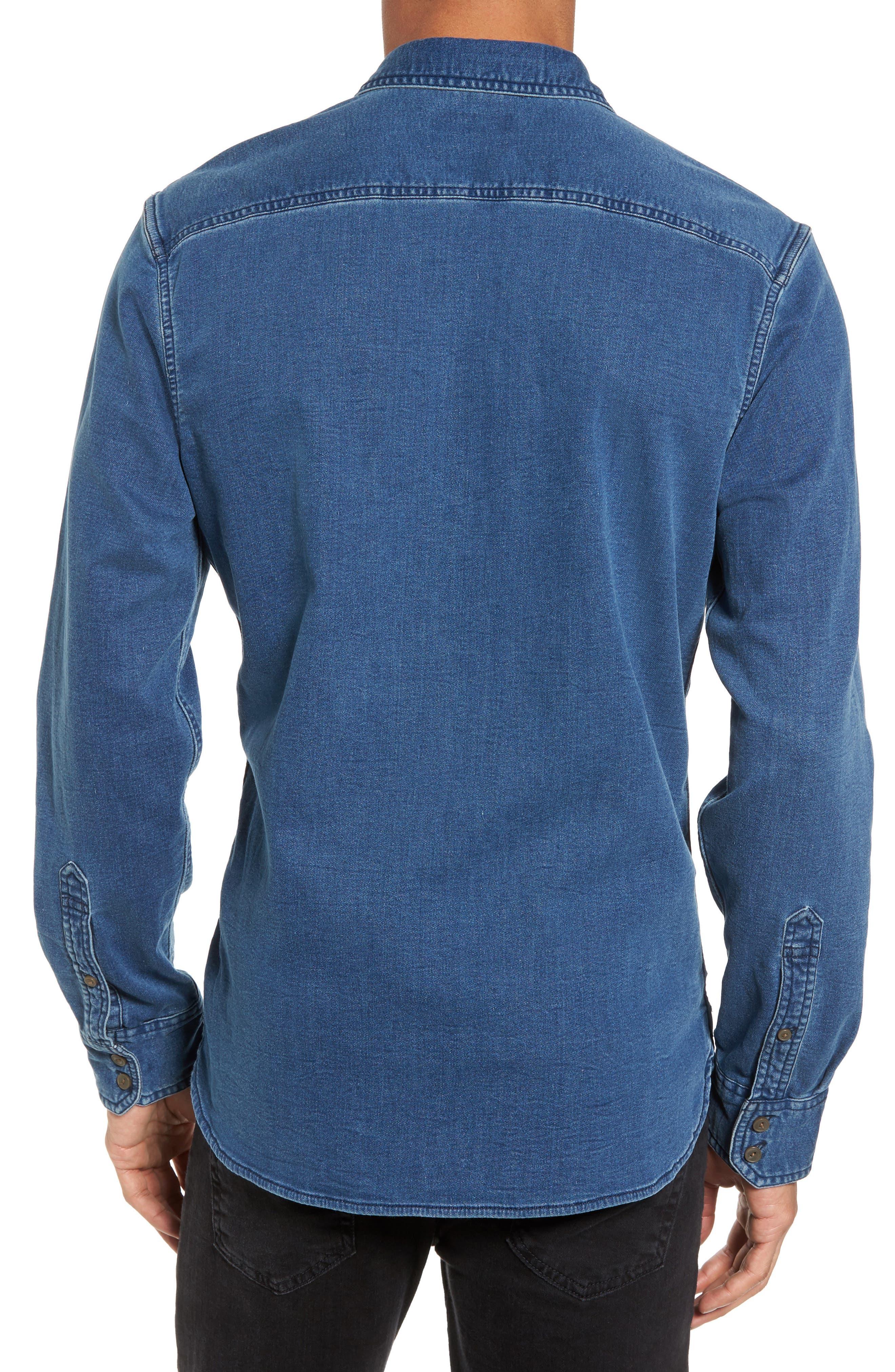 Trim Fit Utility Wash Knit Denim Shirt,                             Alternate thumbnail 2, color,